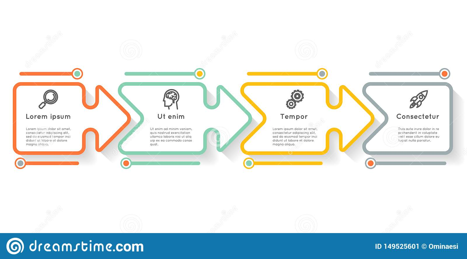 Graphique infographic de l information de disposition de déroulement des opérations d icônes d étapes d options de label de prése