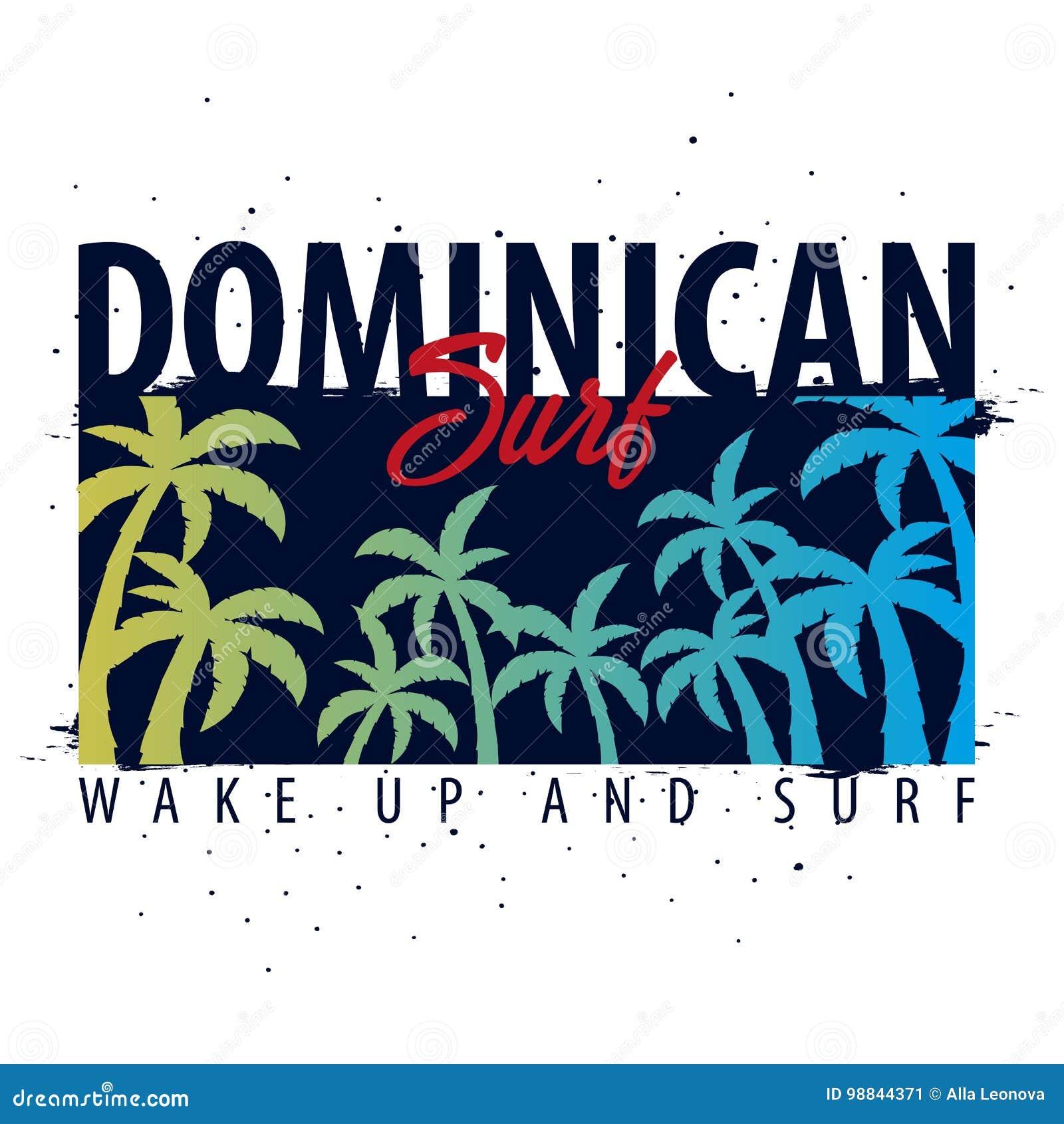 Graphique surfant dominicain avec des paumes Conception et copie de T-shirt