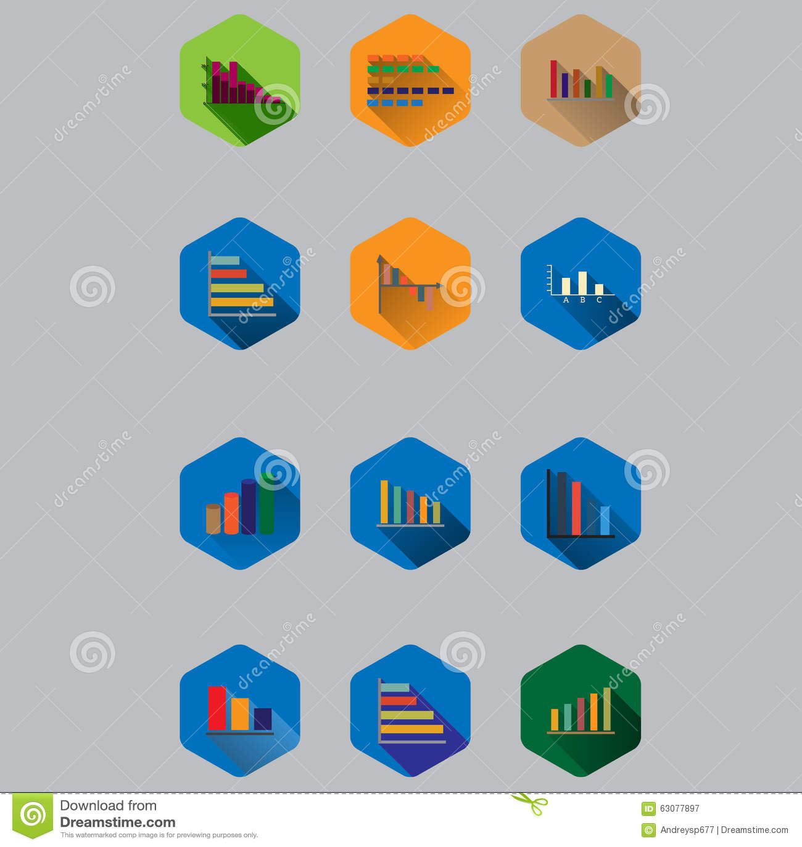 Download Graphiques De Gestion Dans La Conception Plate Avec De Longues Ombres Illustration de Vecteur - Illustration du graphique, ramassage: 63077897