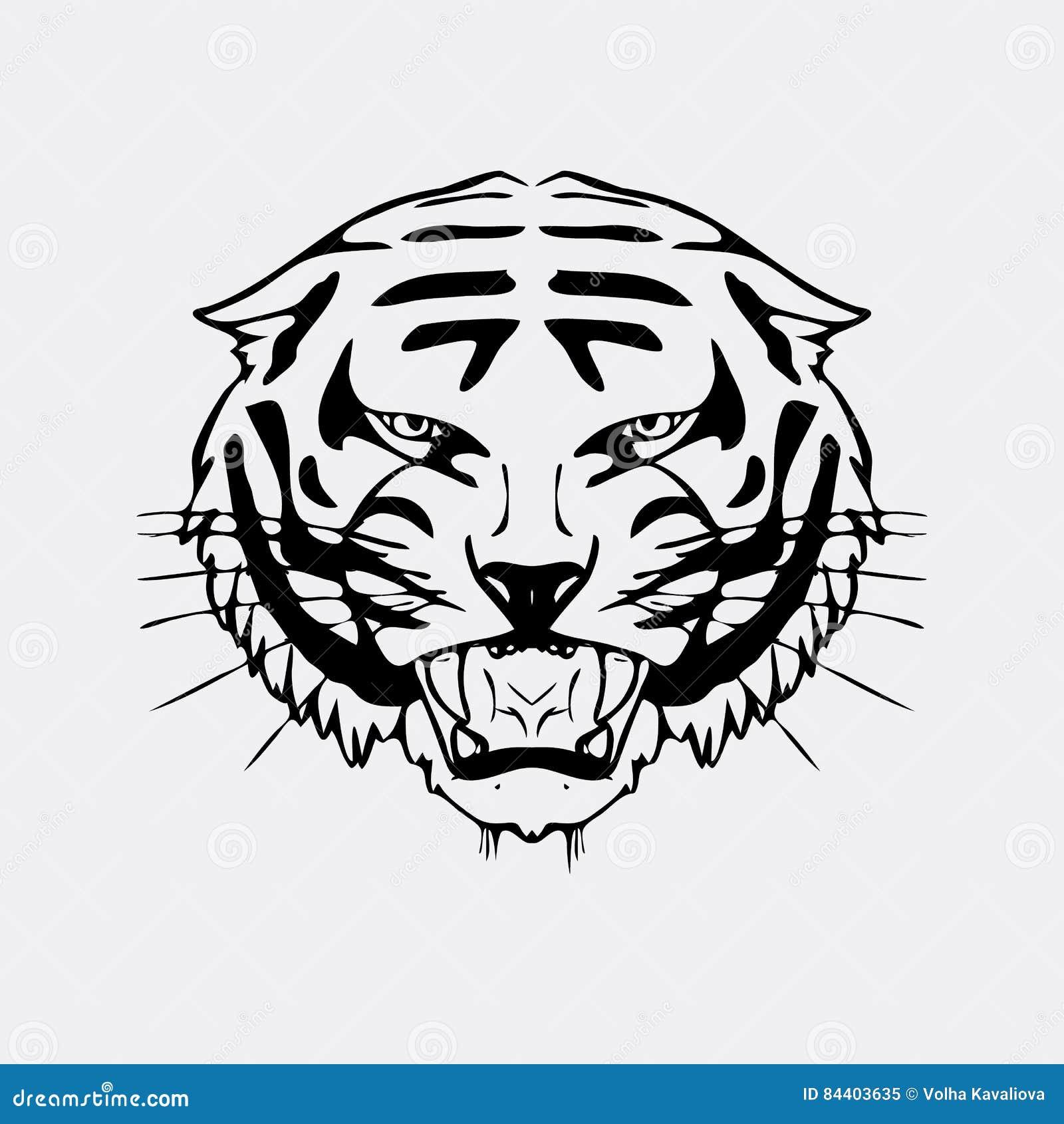 graphiques tir s par la main de crayon t te de tigre gravure style de pochoir logo noir et. Black Bedroom Furniture Sets. Home Design Ideas
