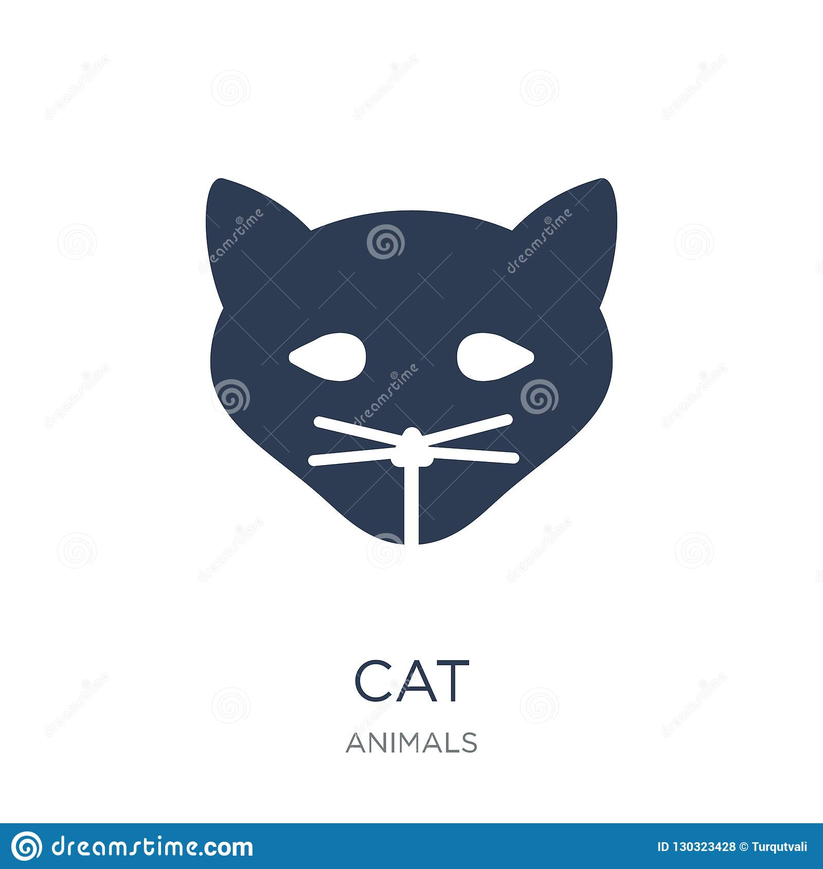 Graphisme de chat Icône plate à la mode de chat de vecteur sur le fond blanc d a