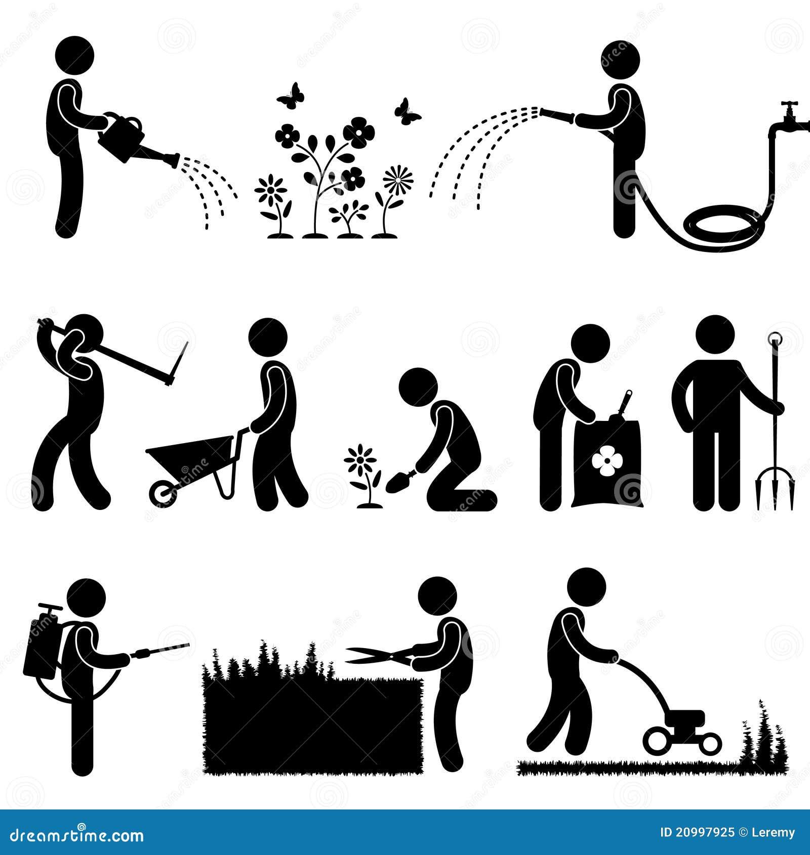 Graphisme de jardinage s de pictogramme d 39 herbe de fleur d 39 usine de travail illustration de for Les meilleurs sites de jardinage