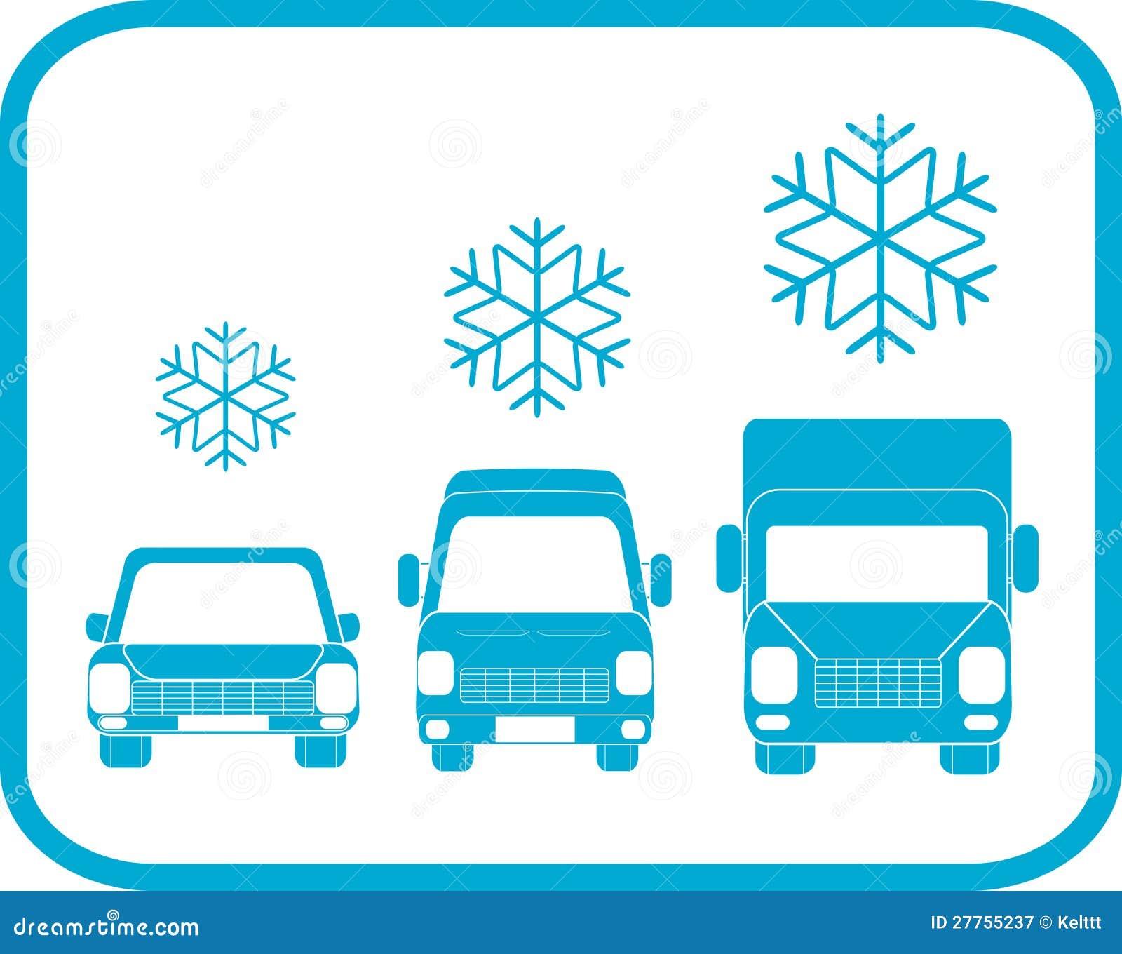 Graphisme de l hiver avec la silhouette de transport