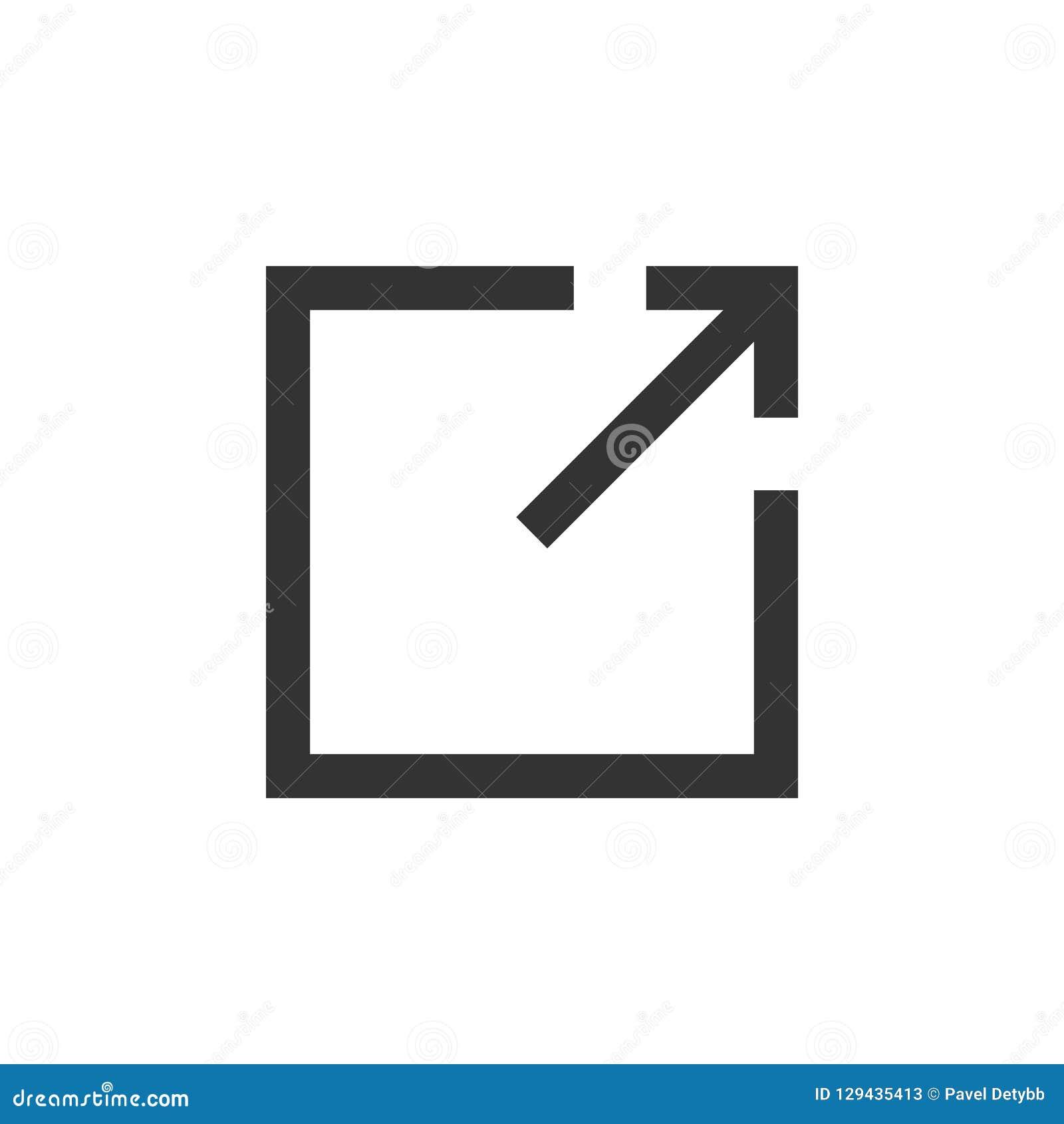 Graphisme de téléchargement Icône de lien externe, symbole Illustration de vecteur Conception plate
