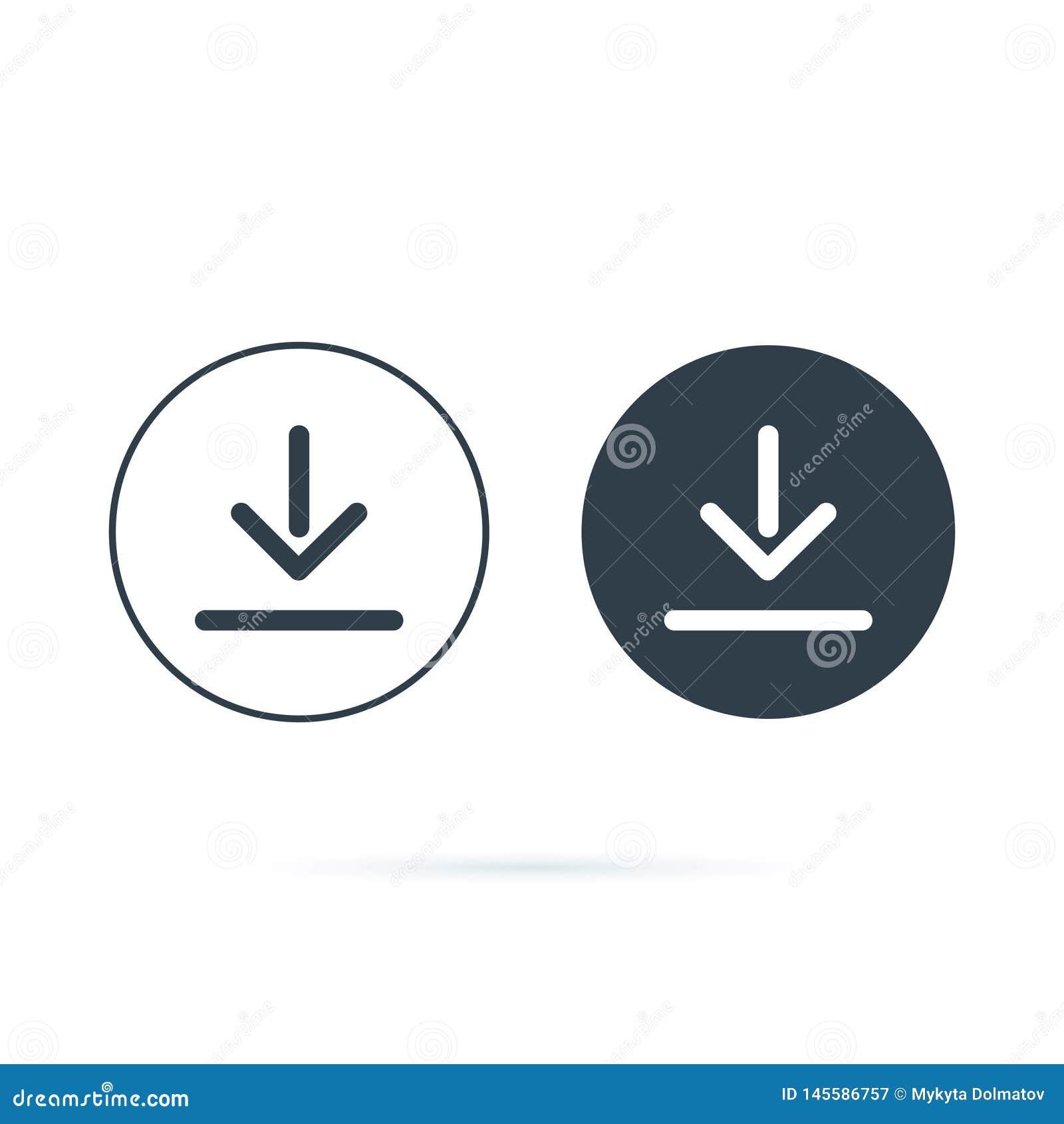 Graphisme de t?l?chargement t?l?chargement de l ic?ne de vecteur Économisez au symbole d ordinateur, au solide et à la ligne icôn