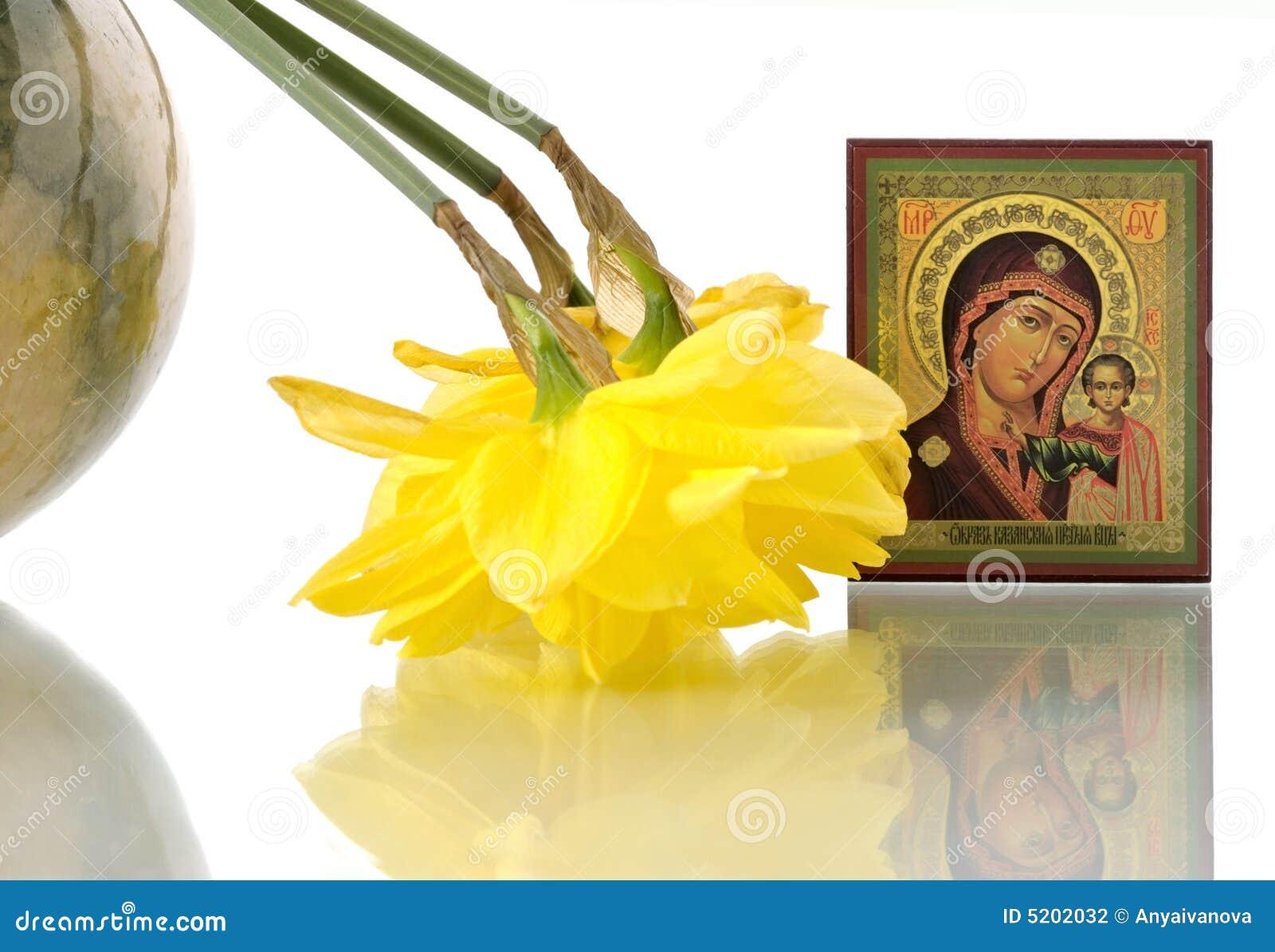 Graphisme russe Vierge Marie et des jonquilles dans rond