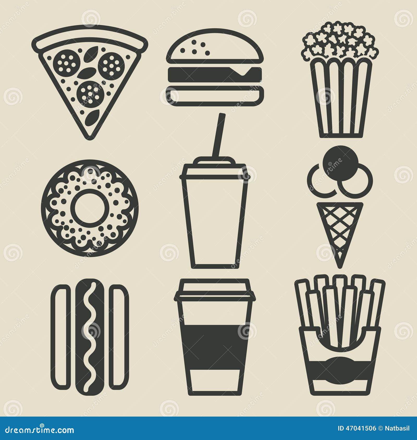 Graphismes d aliments de préparation rapide réglés