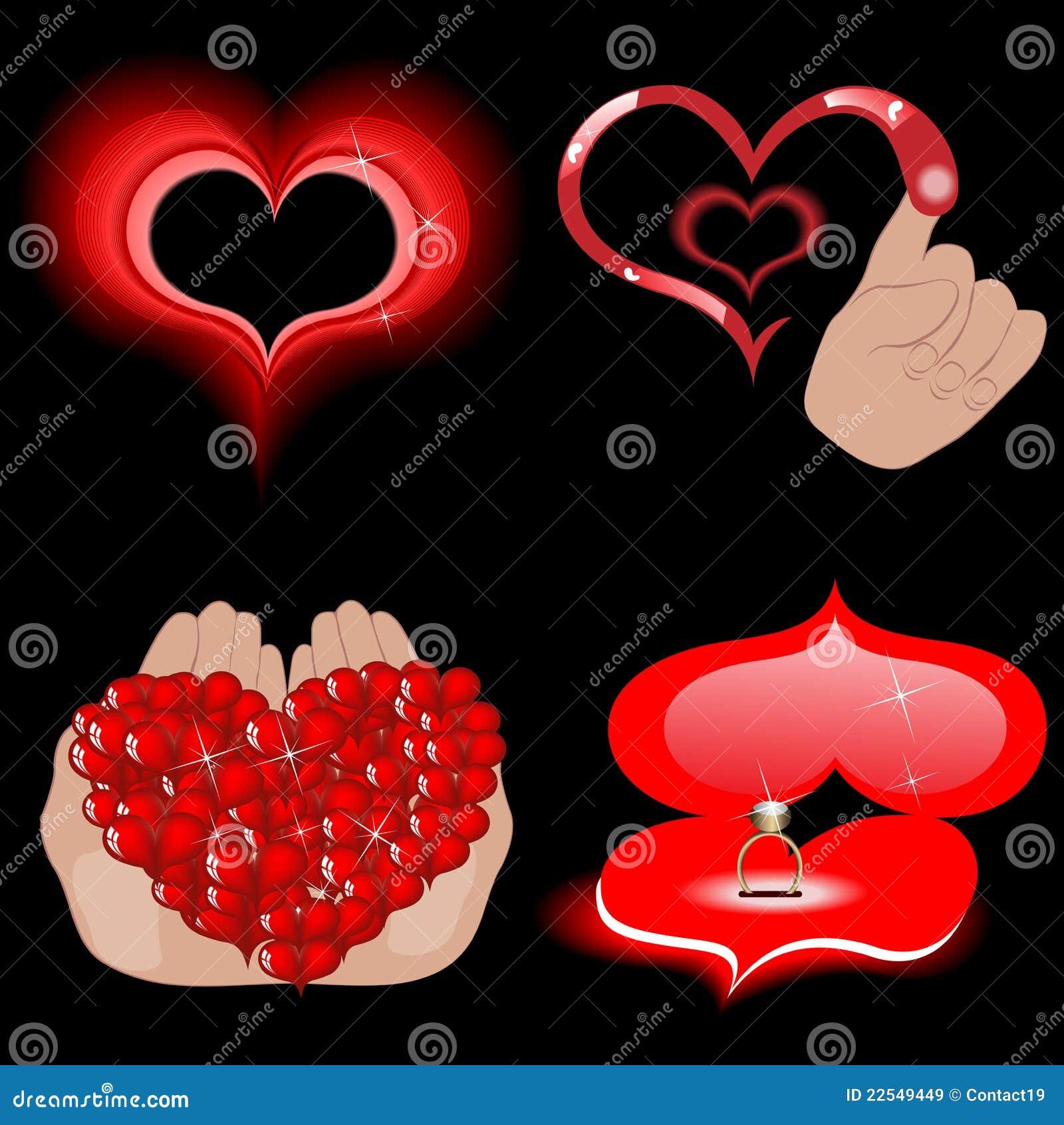 Graphismes de coeur de vecteur sur le noir