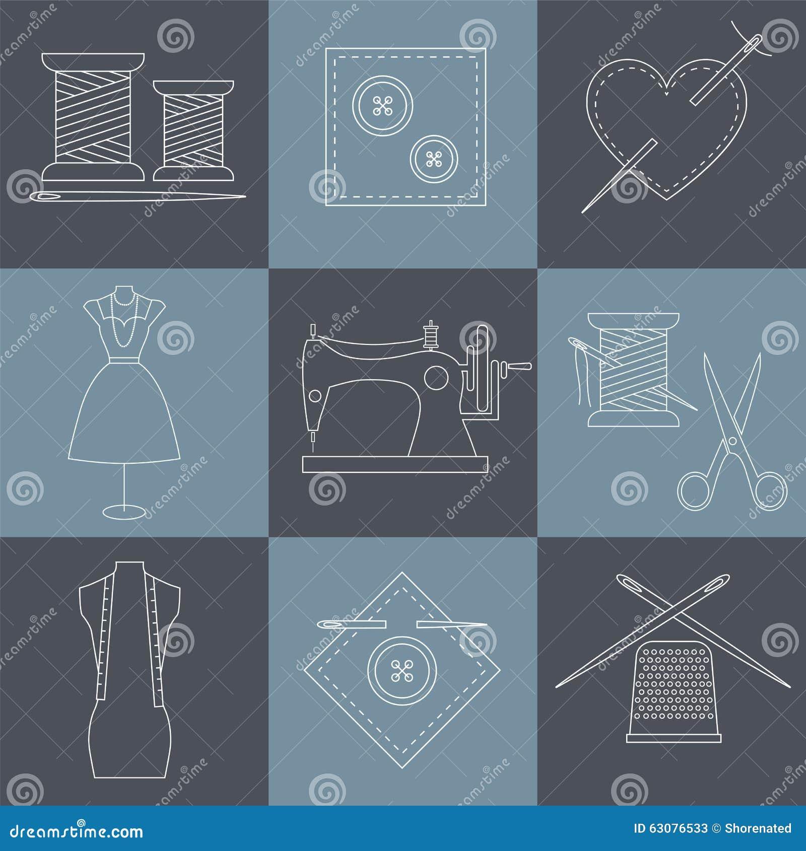 Download Graphismes De Couture Et De Couture Illustration de Vecteur - Illustration du tissu, mode: 63076533