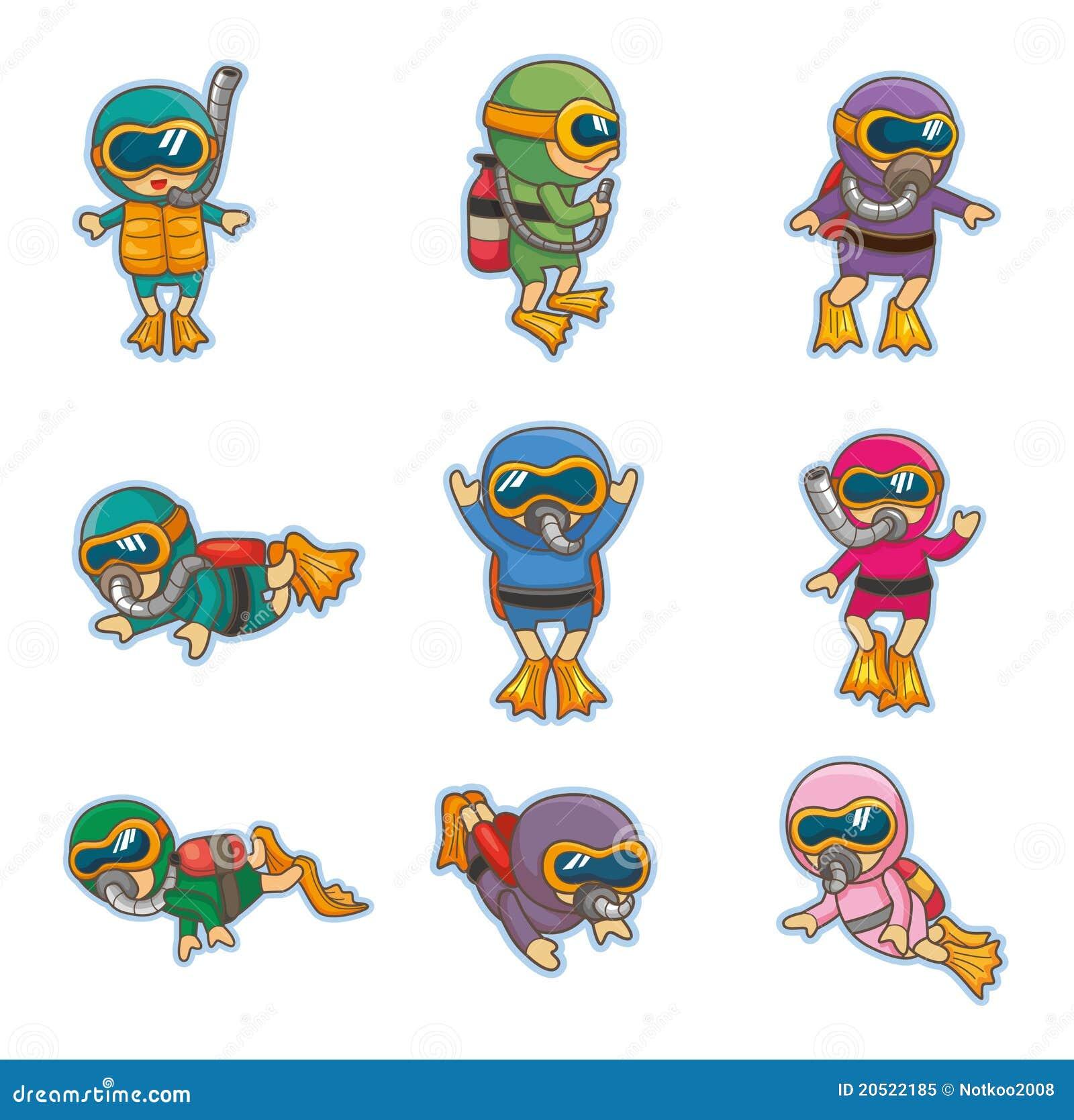 Graphismes de plongeur de dessin anim illustration de - Dessin plongeur ...