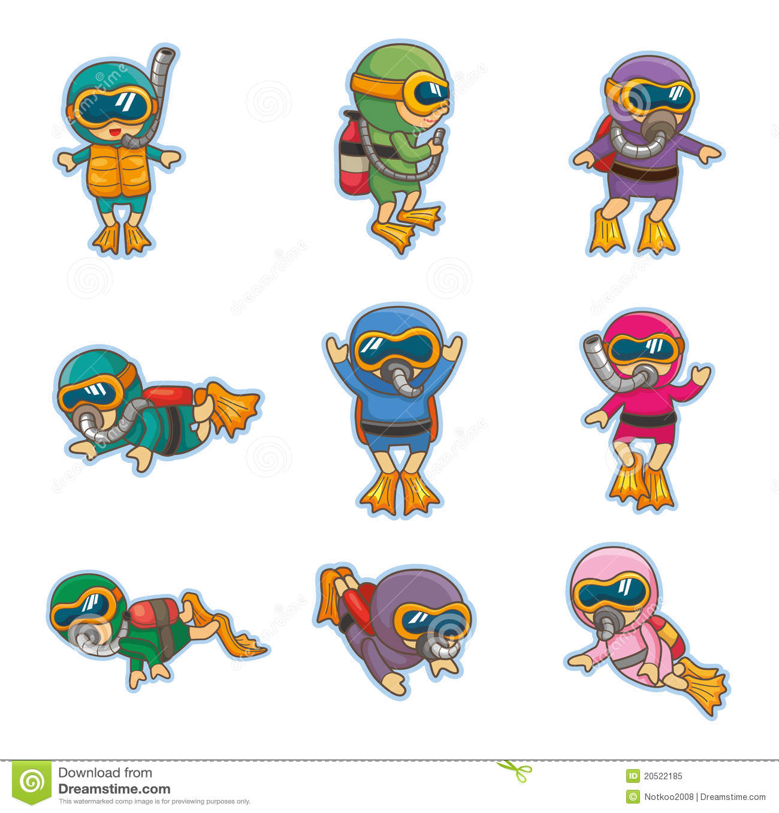 Graphismes de plongeur de dessin anim photo libre de droits image 20522185 - Dessin plongeur ...