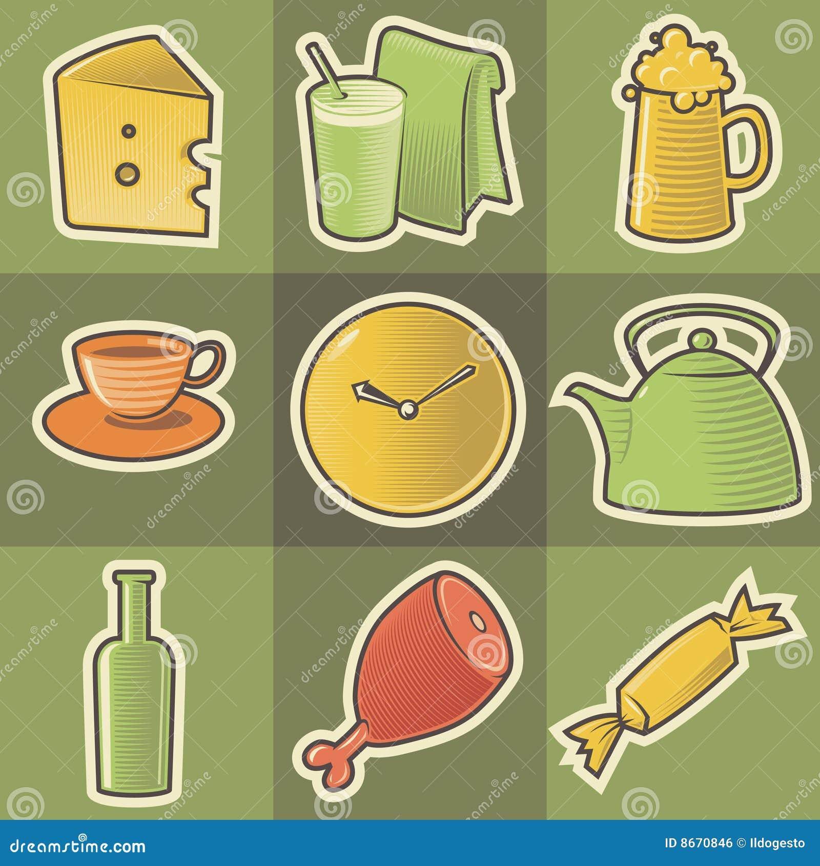 Graphismes multicolores de nourriture