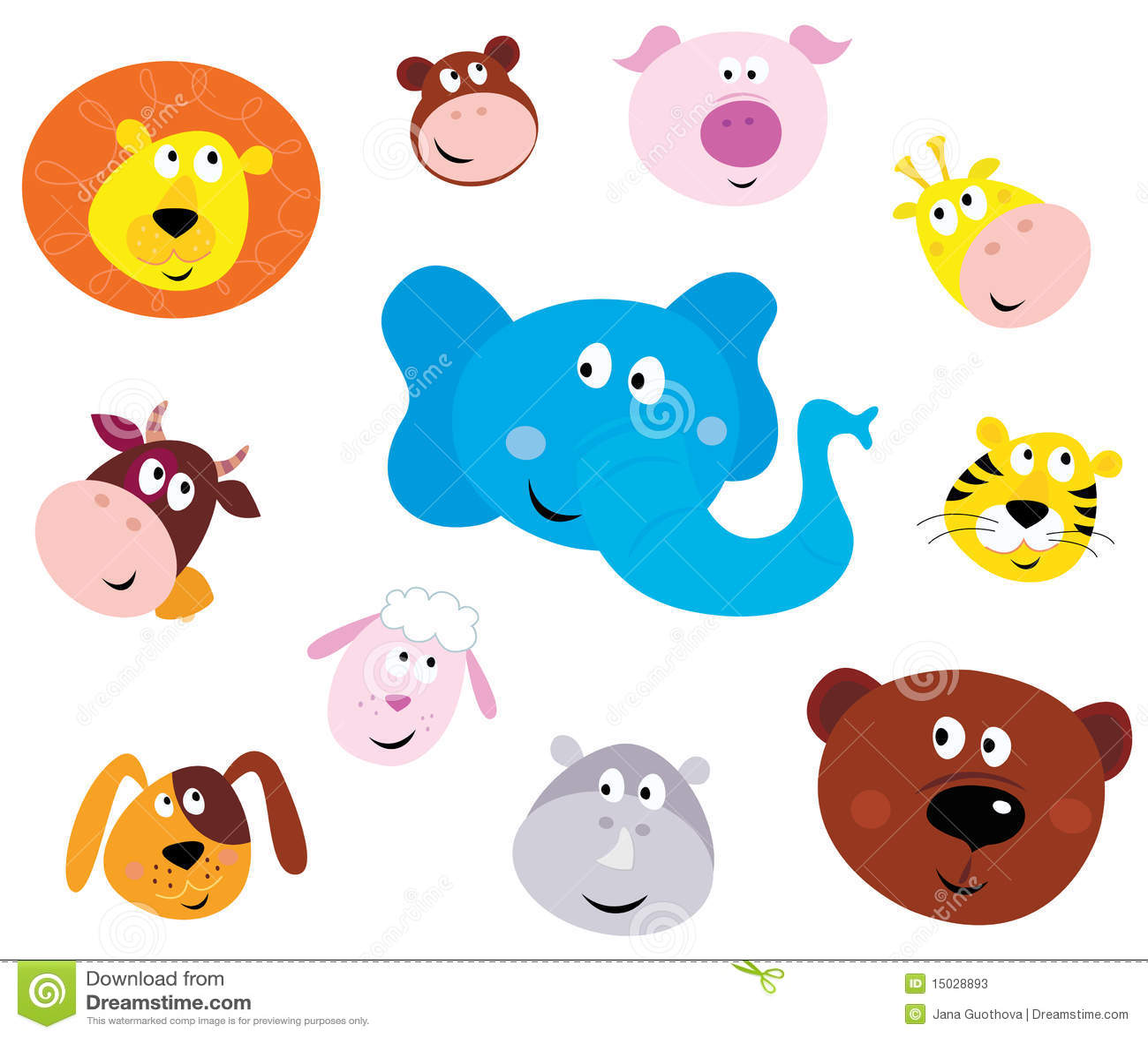 Graphismes principaux animaux de sourire mignons (émoticônes)