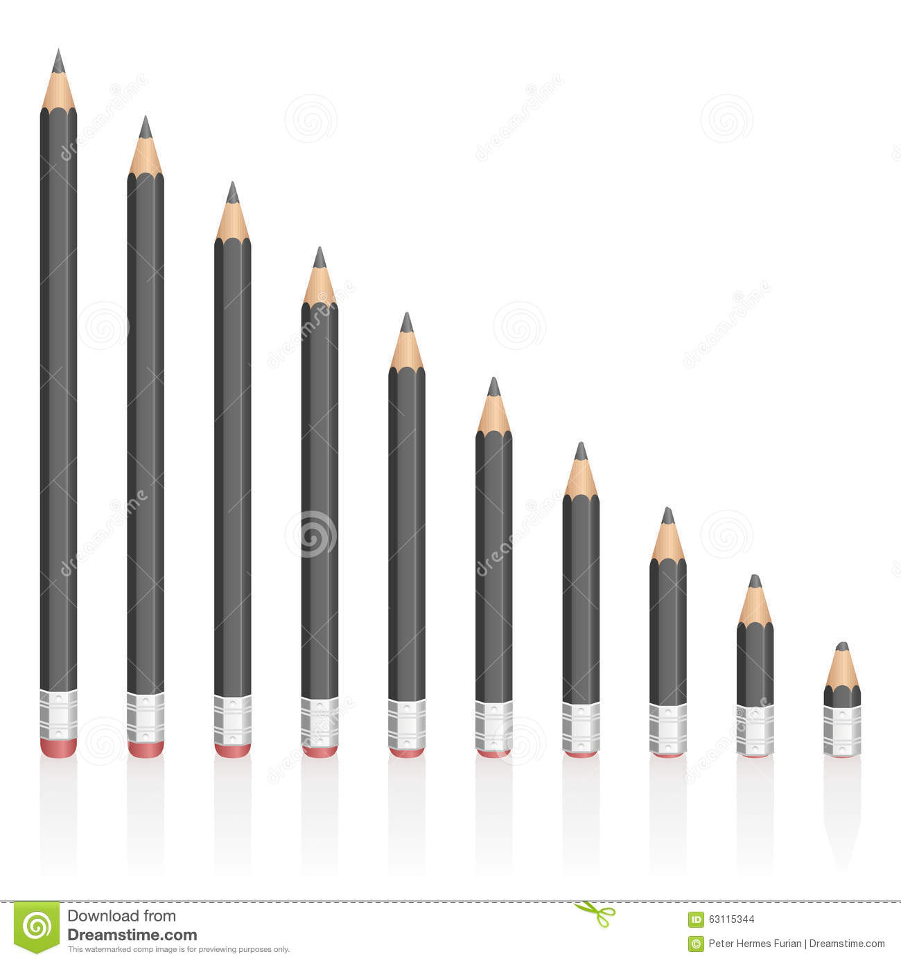 graphite pencils reduction different sizes stock vector