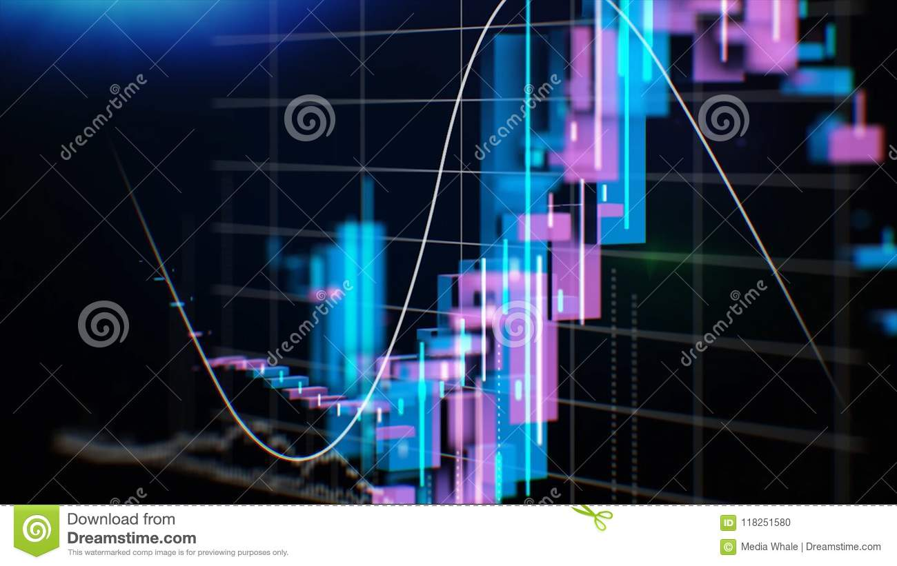 Graphs, charts and data. Perfect Flight through Business Network. Stock. Looped animation. Growing Business Chart with