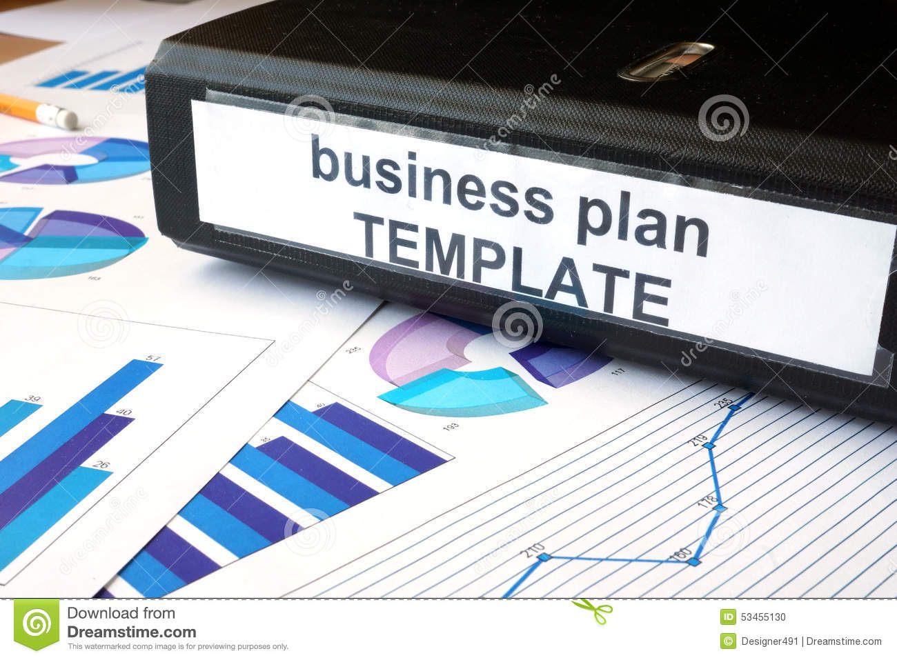 Graphs And File Folder With Label Business Plan Template. Stock ...