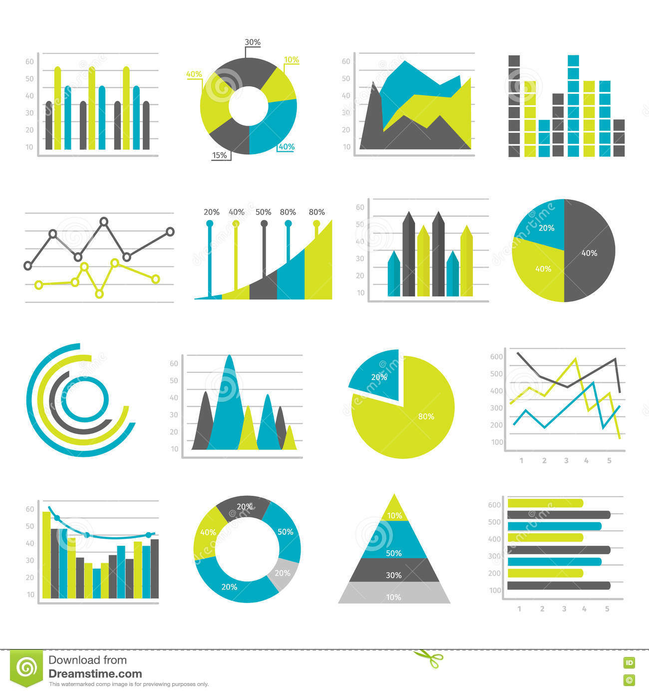 Graphs Flat Icons Set Stock Vector - Image: 72973844