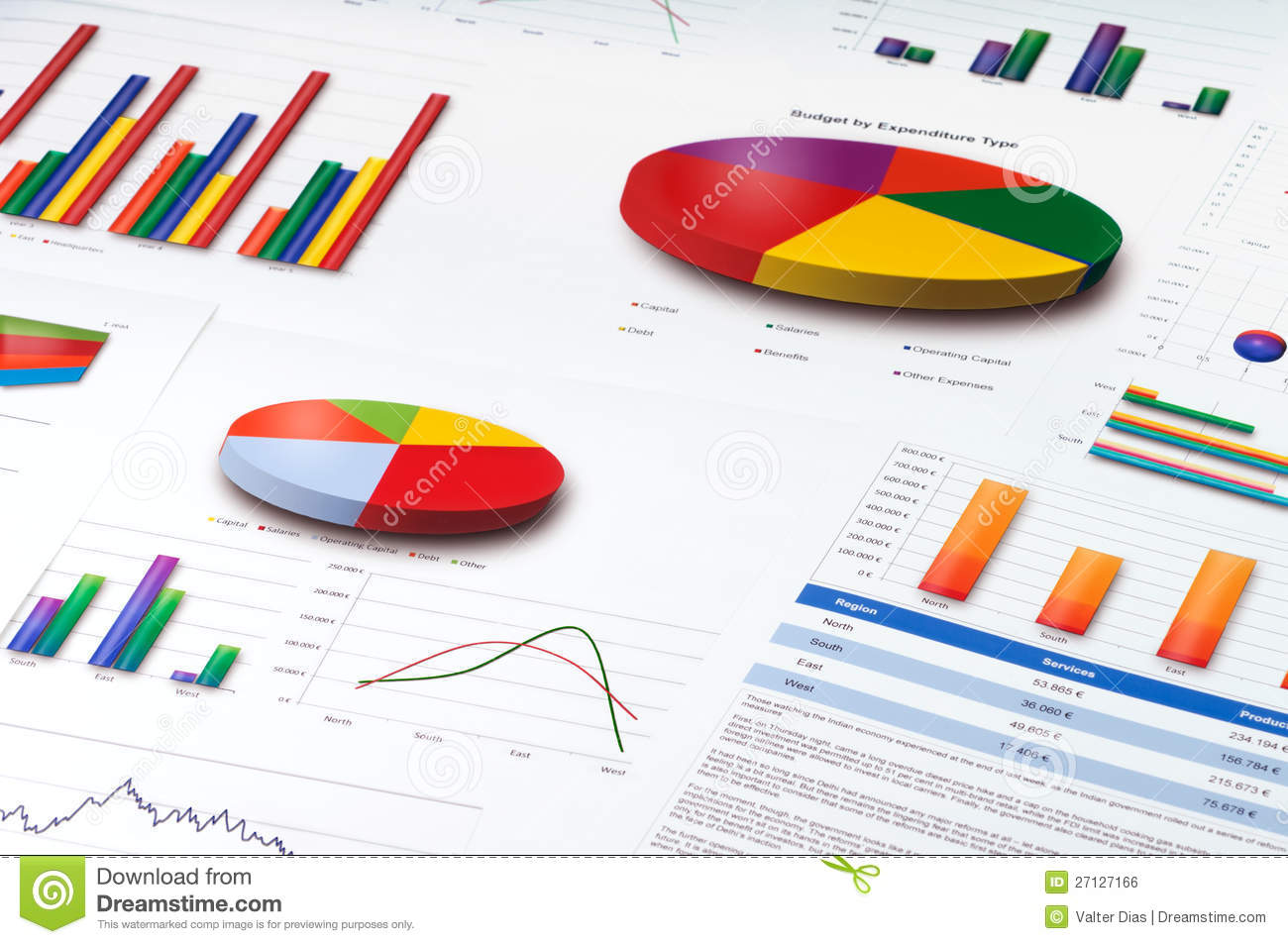 Graphs And Pie, Line And Bar Charts Report Royalty Free Stock ...
