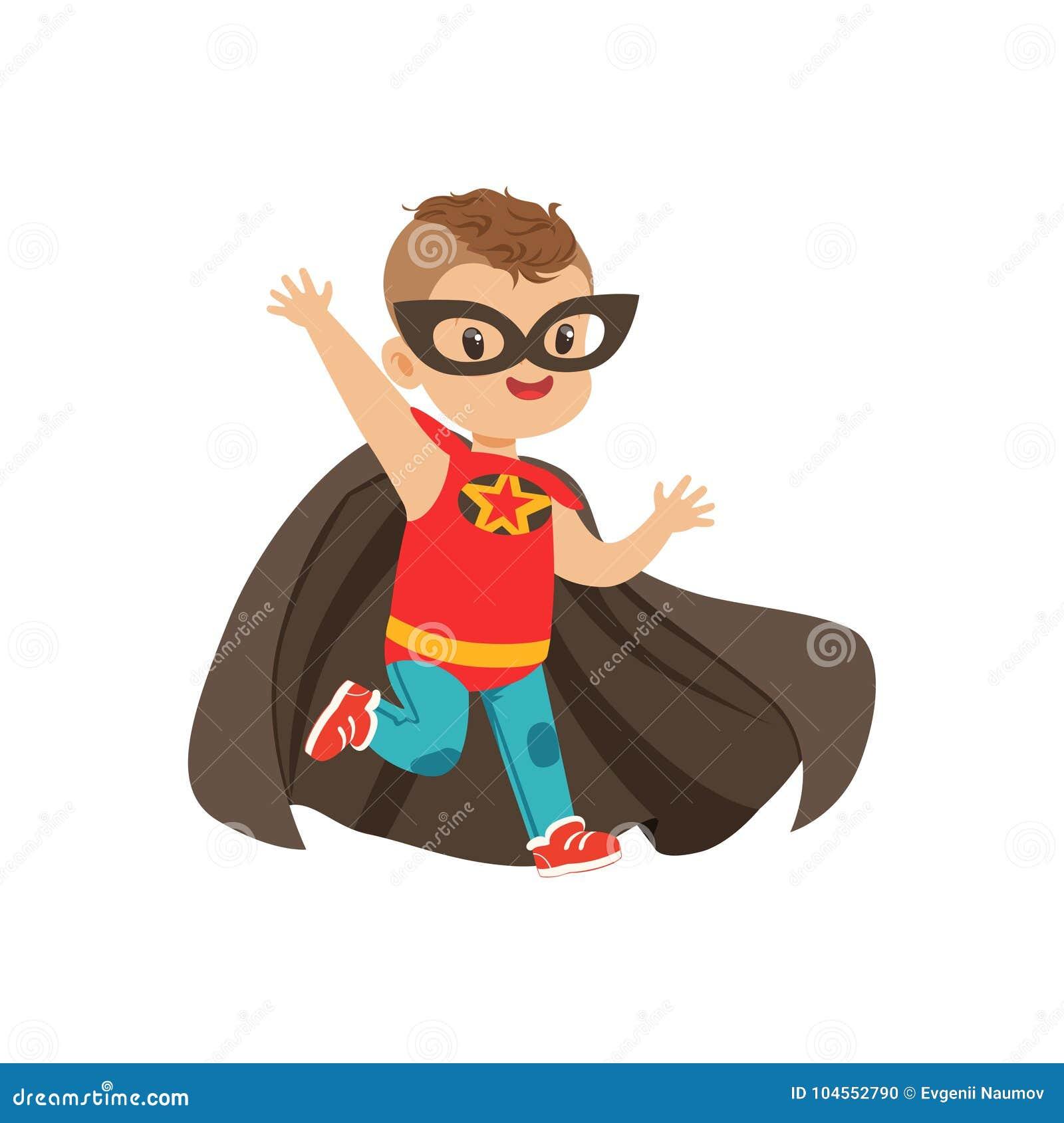 Grappig moedig jong geitje met in kapsel in kleurrijk superherokostuum Kinderens spel Vectorbeeldverhaal vlakke super jongen