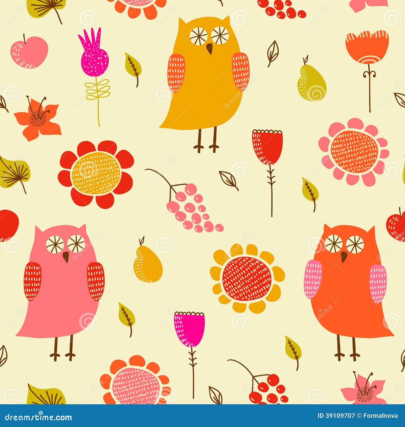 Grappig naadloos patroon met uilen en bloemen