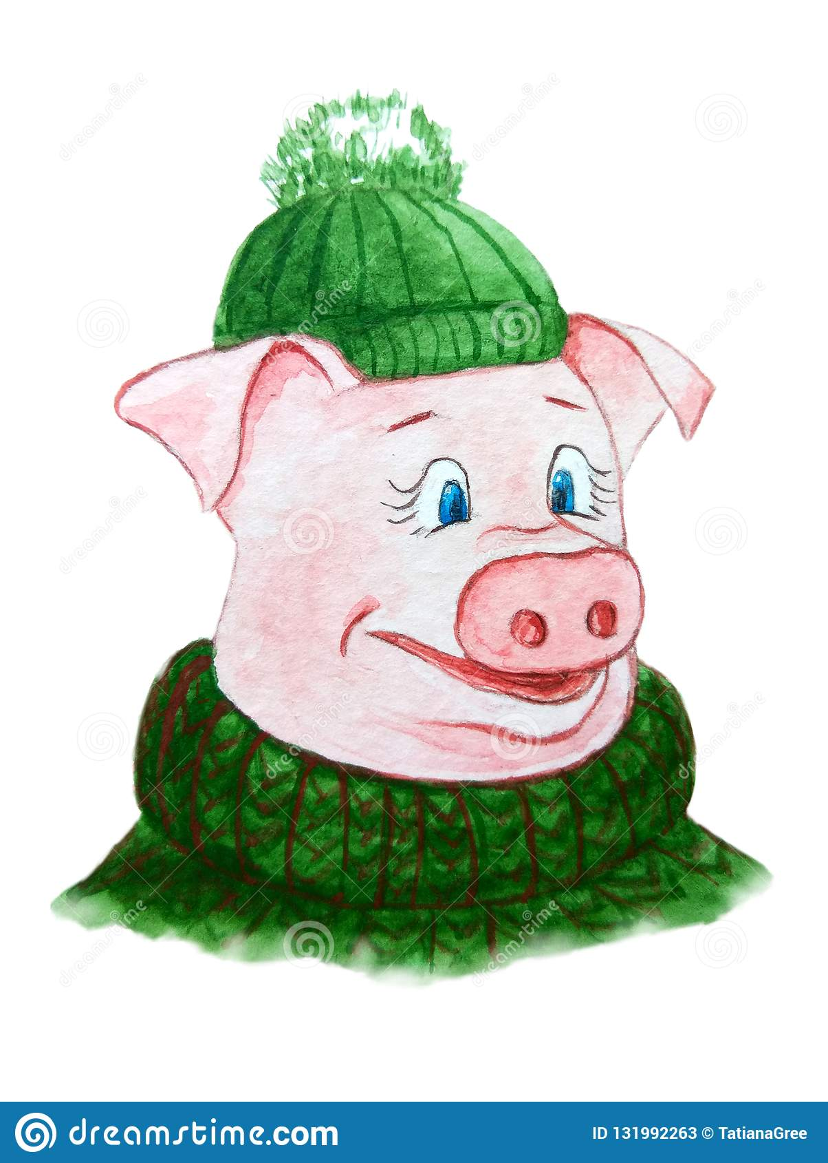 Grappig piggy karakter in een groene hoed en warme sweater