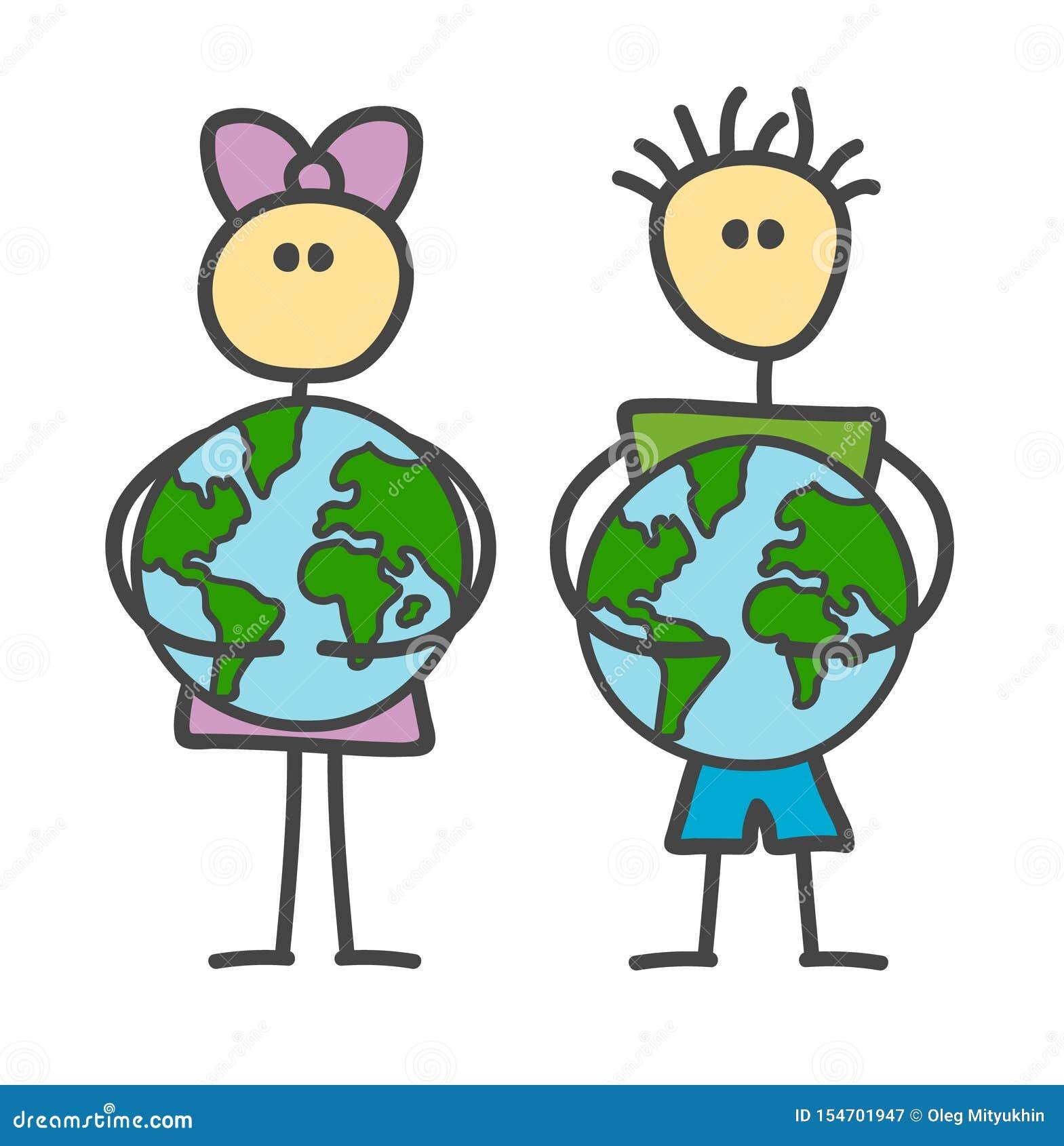 Grappig vectorstokjongen en meisje die Aarde in de stijl van kinderen koesteren Gelukkige Aardedag, de Dag van het Wereldmilieu,