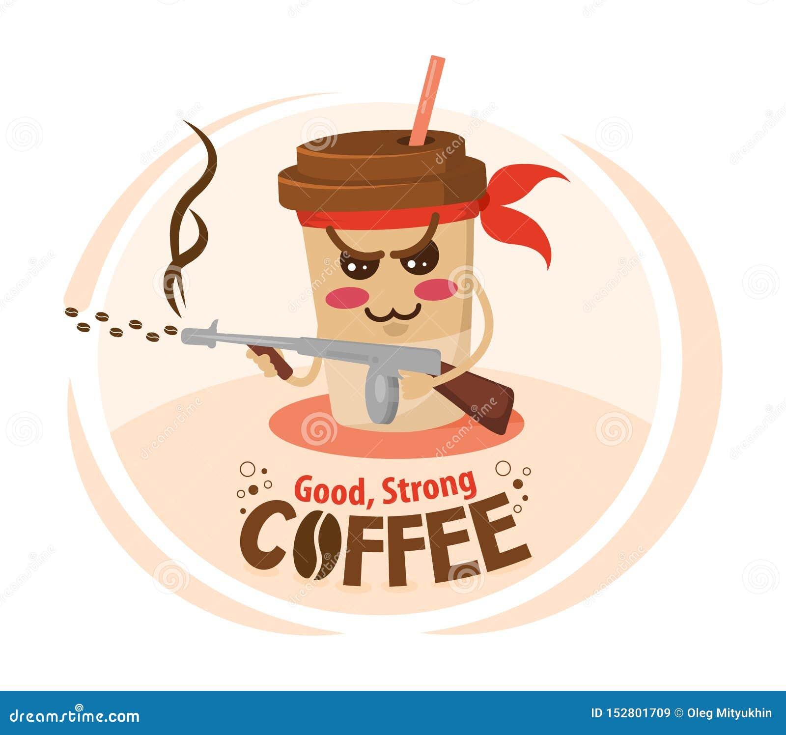 Grappige de koffiekop die van het beeldverhaalkarakter een machinegeweer houden Sterk koffieconcept