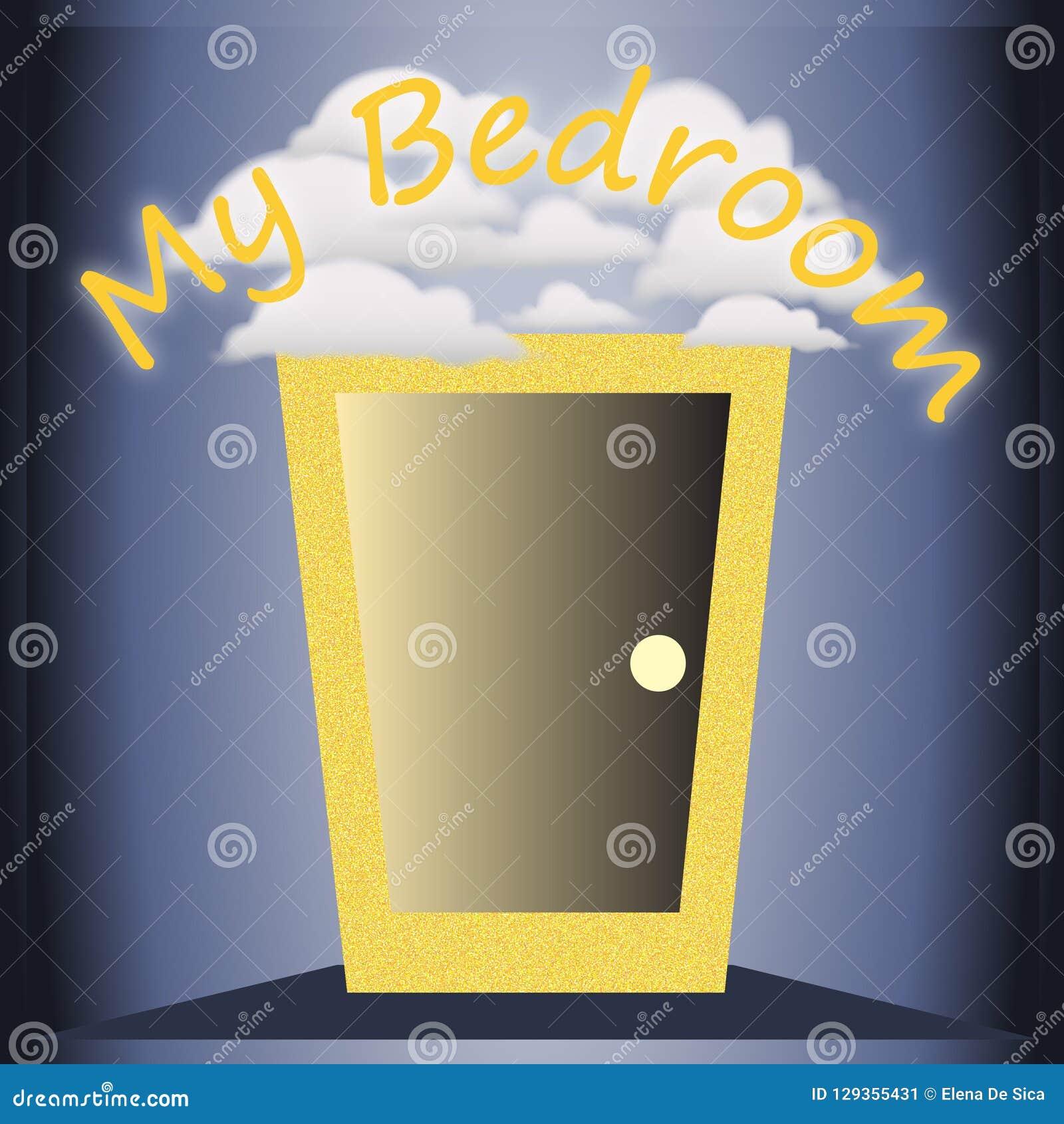 Grappige decoratieve illustratie voor de slaapkamer geschikt om op de deur of op de muur te hangen