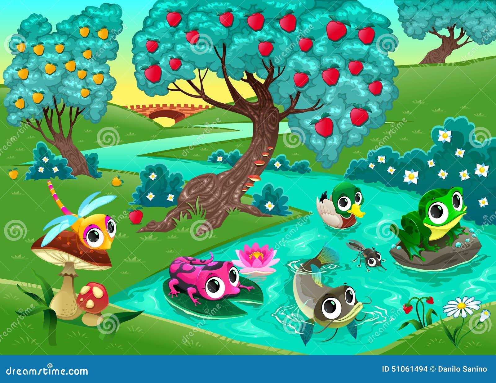 Grappige dieren op een rivier in het hout