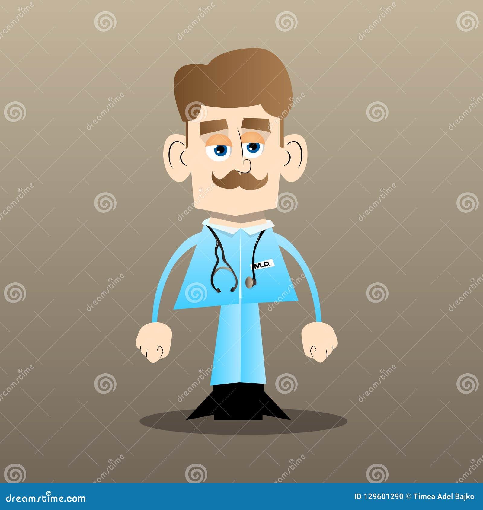 Grappige en leuke beeldverhaal arts status