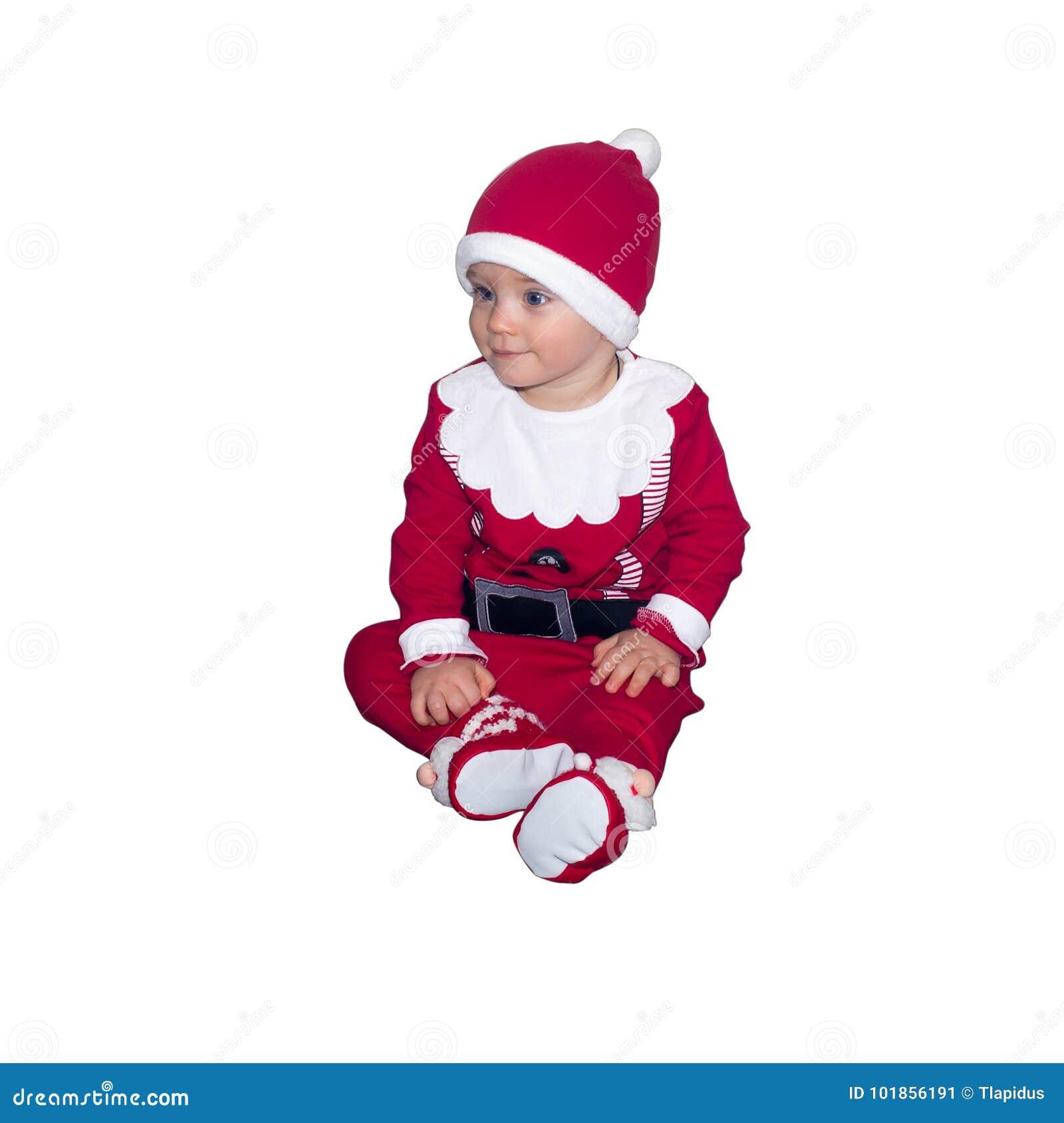 Grappige geïsoleerde baby in Santa Claus-kleren