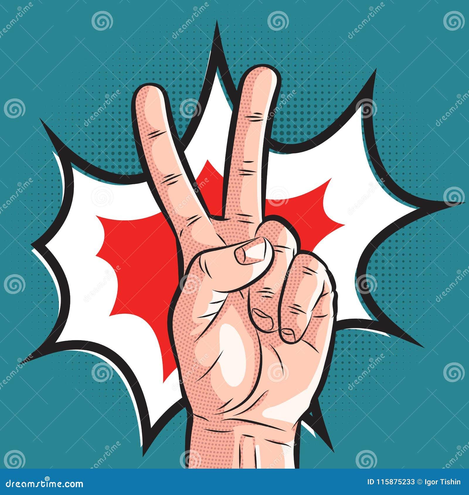 Grappige hand die overwinningsgebaar tonen het teken van de pop-artvrede op halftone achtergrond