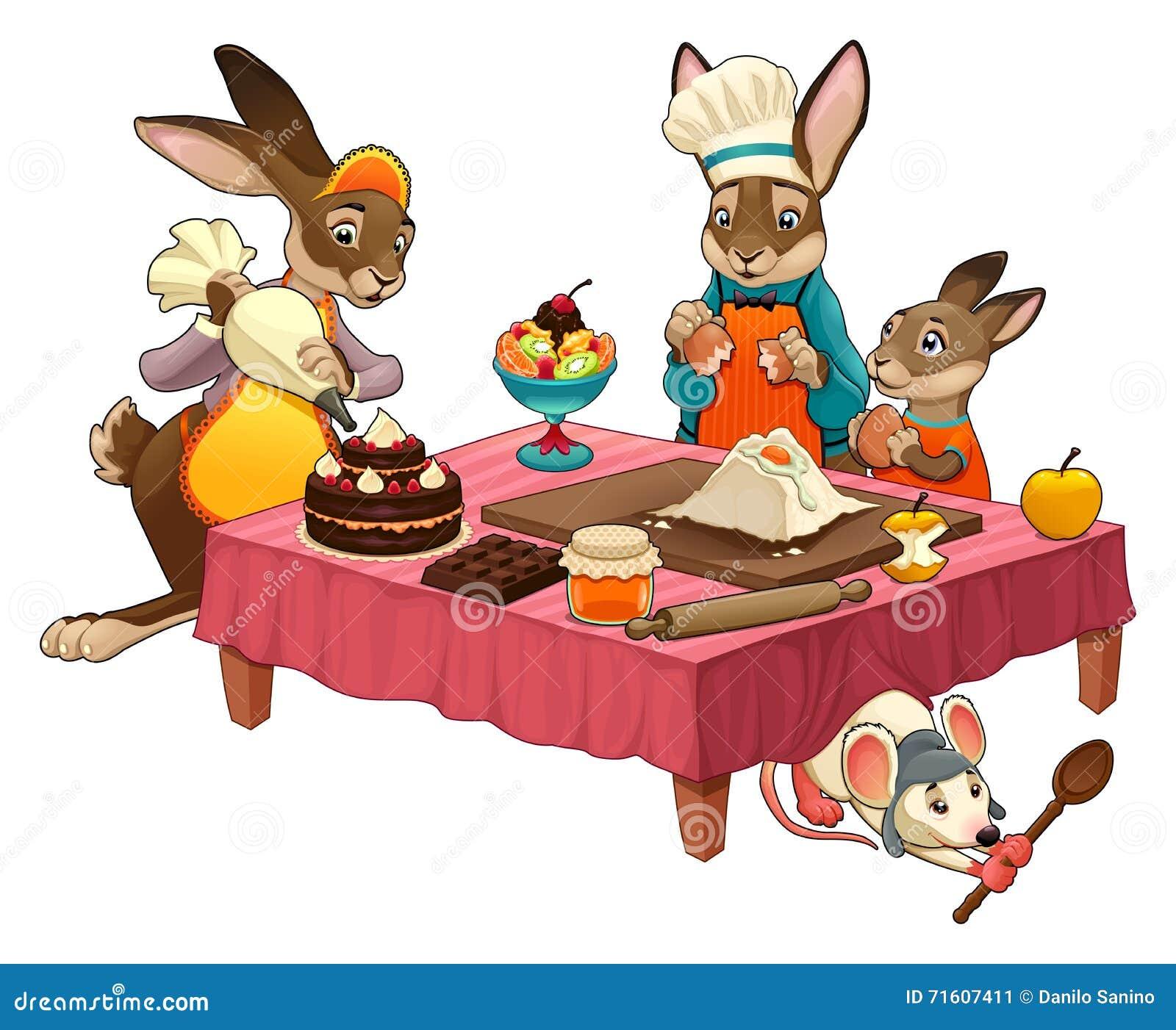 Grappige het koken sc ne die met konijnen snoepjes maken vector illustratie afbeelding 71607411 - Koken afbeelding ...