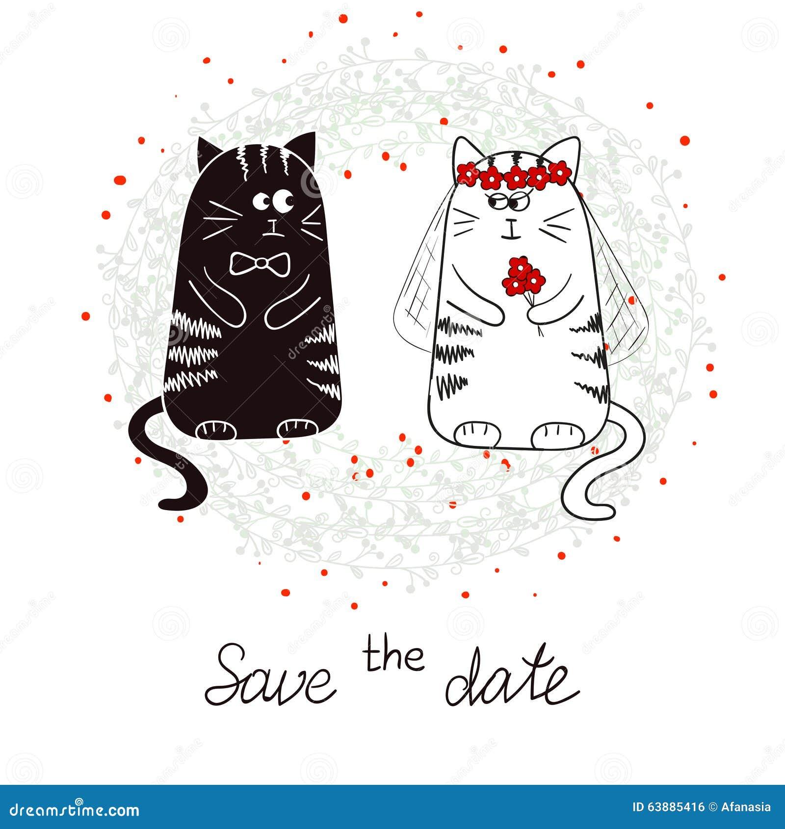 Grappige katten bruid en bruidegom de uitnodiging van het