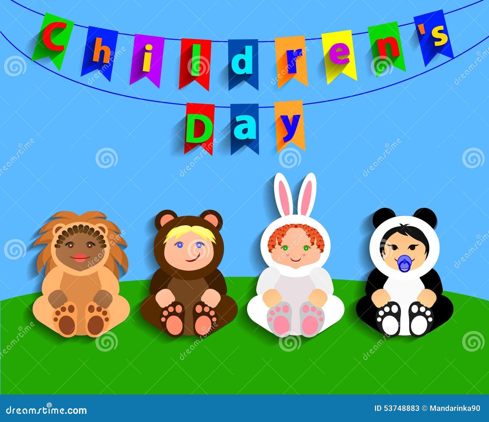 Grappige kinderen in dierlijke kostuums De Dag van internationale Kinderen