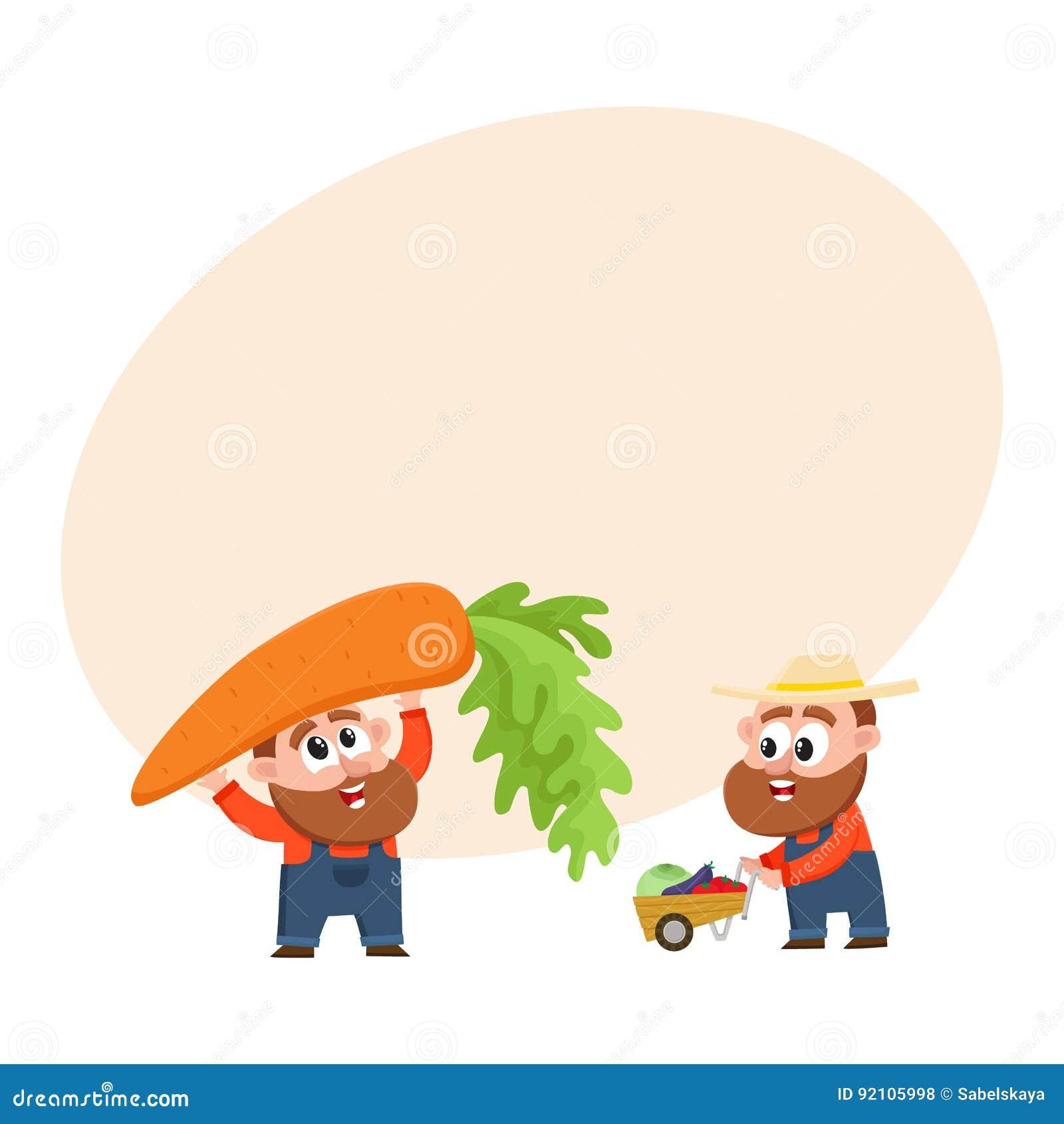 Grappige landbouwers die groenten oogsten, houdend reuzewortel, die stootkar, kruiwagen duwen