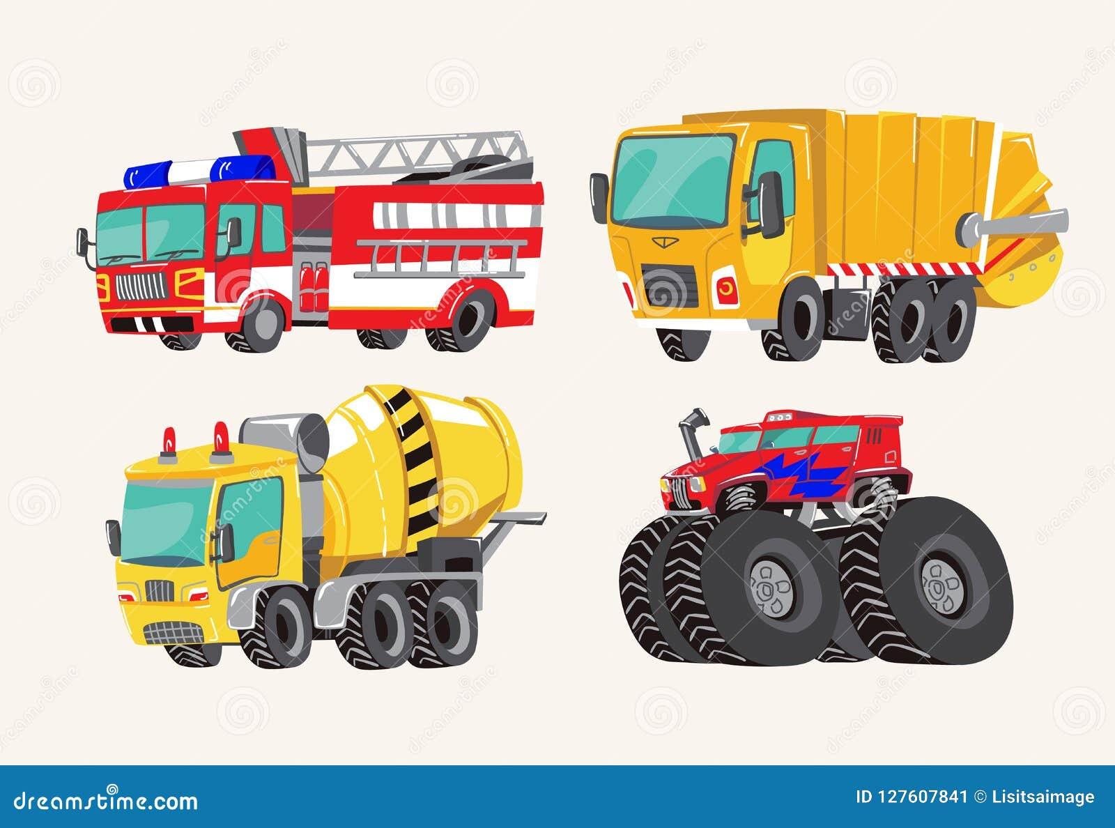 Grappige leuke hand getrokken beeldverhaalvoertuigen De heldere vrachtwagen van de beeldverhaalbrand, brandmotor, vuilnisauto, co