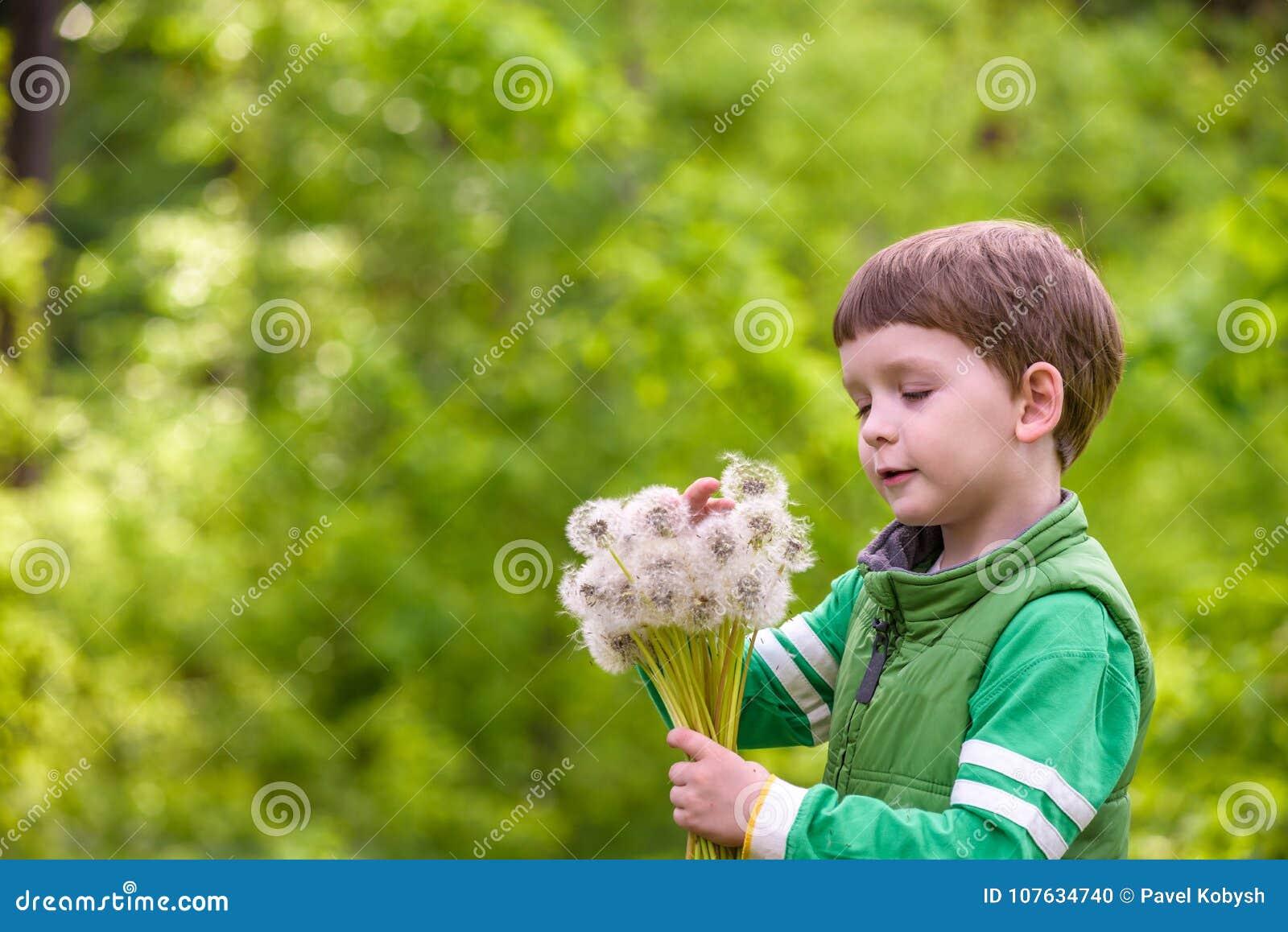 Grappige leuke jong geitjejongen die pret met paardebloembloem hebben op warm en