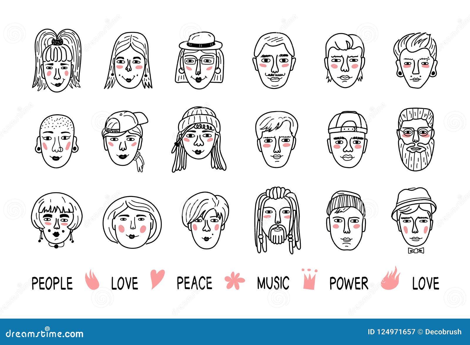 Grappige mensenavatars, Gezichten van mannen en vrouwen Krabbelportretten van mensen, Hand-drawn in hipstermeisjes en jongens