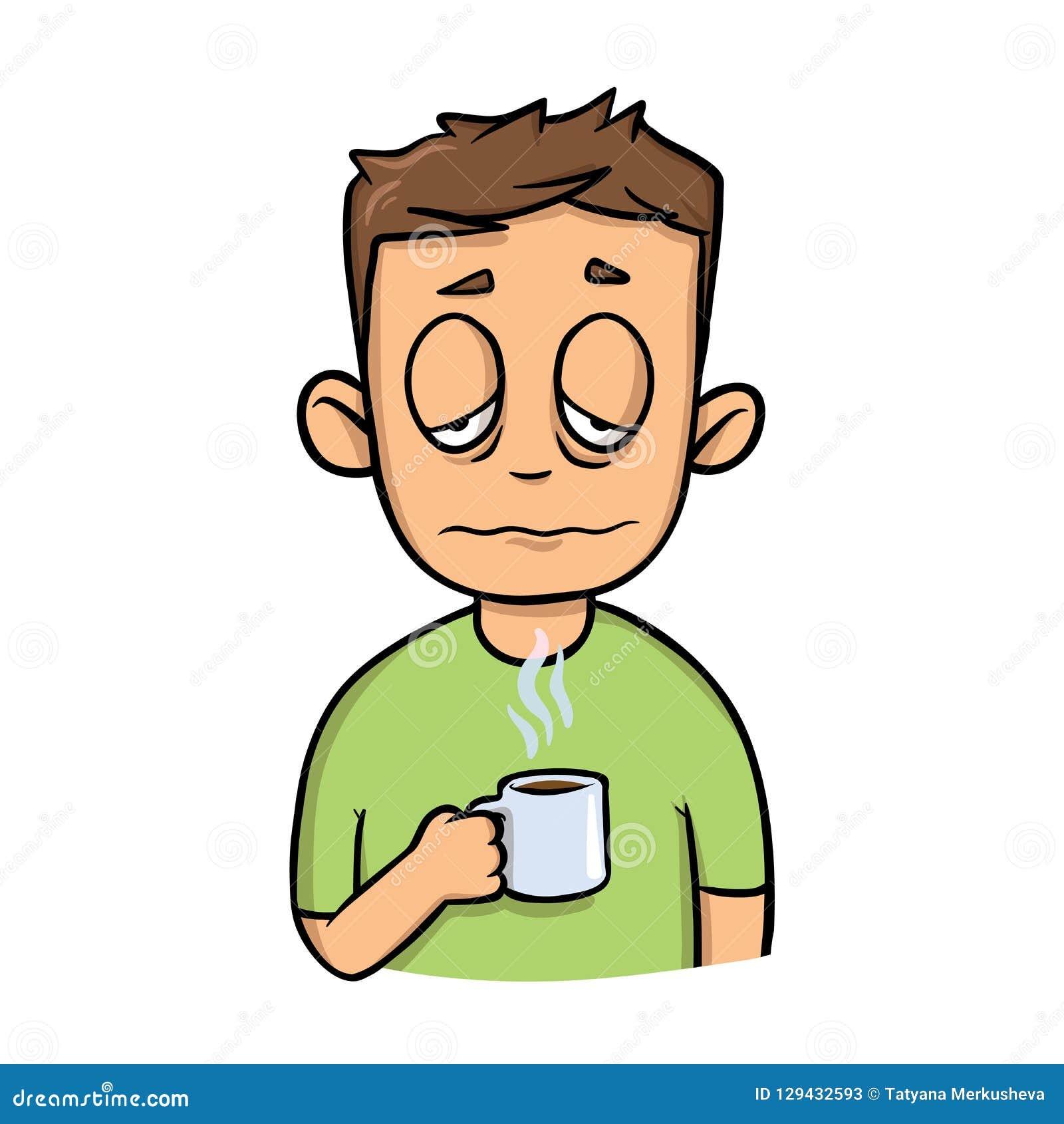 Grappige slaperige kerel met een kop van ochtendkoffie Het pictogram van het beeldverhaalontwerp Vlakke vectorillustratie Geïsole