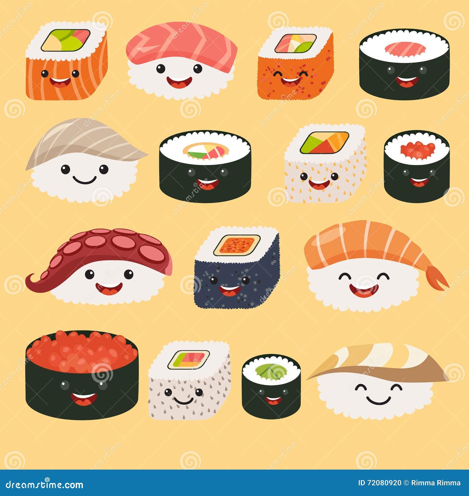 Grappige sushikarakters Grappige sushi met leuke gezichten Van de sushibroodje en sashimi reeks