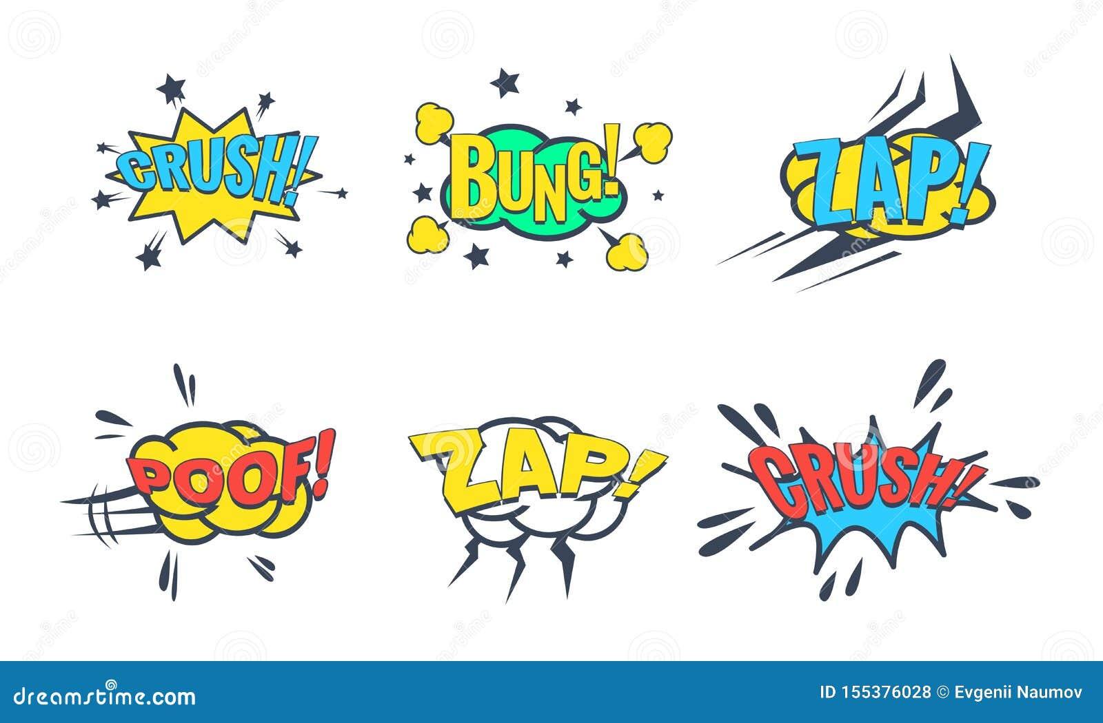 Grappige Toespraakbel met Tekstreeks, Grappige Geluidseffecten, Stop, Verbrijzeling, Zap, de Vectorillustratie van Poof