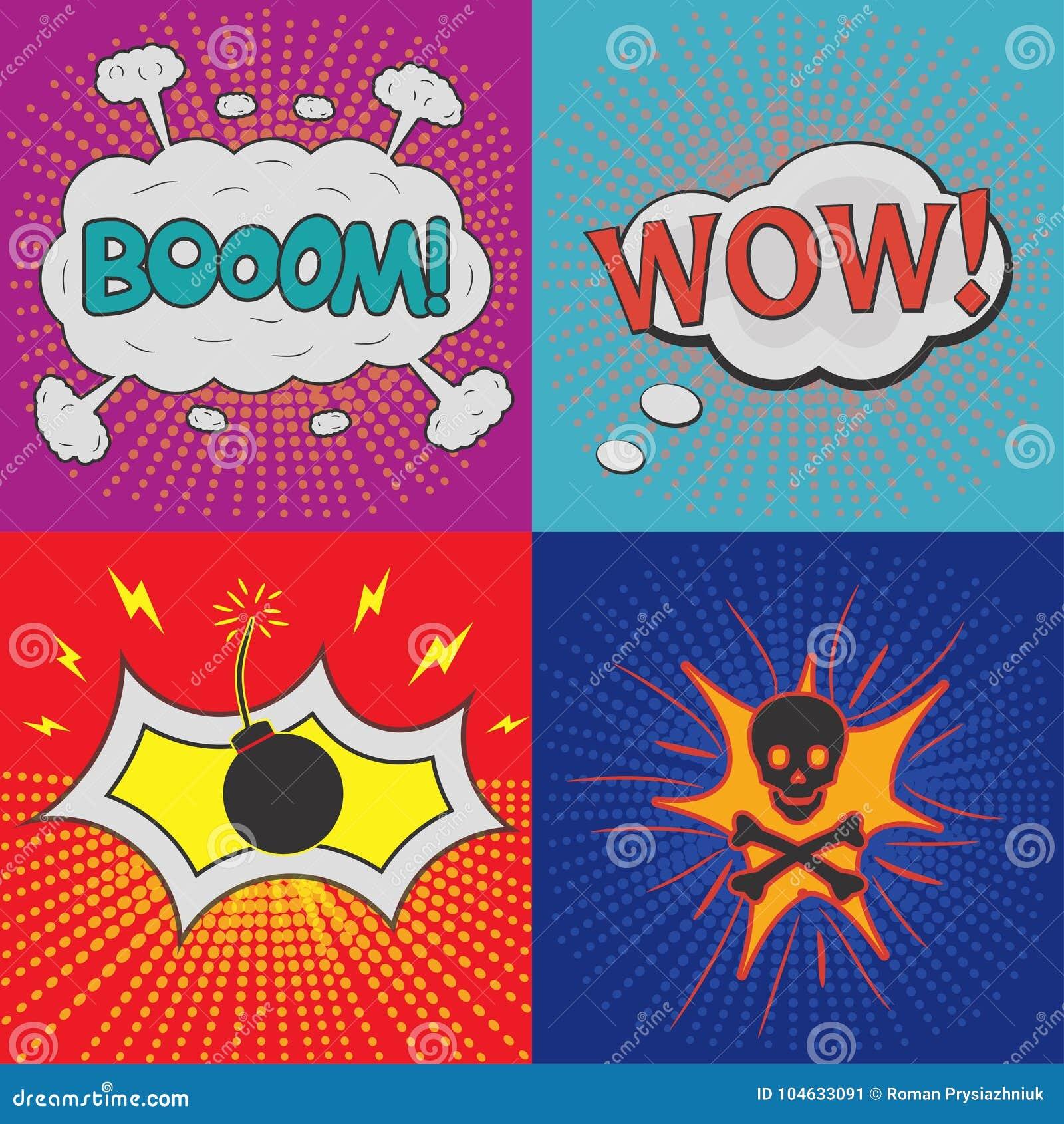 Download Grappige Toespraakbellen Reeks Gevolgen Voor Ontwerpstrippagina Vector Illustratie - Illustratie bestaande uit pret, voor: 104633091
