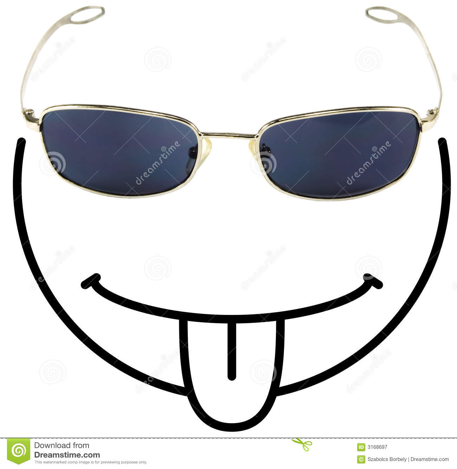 Grappige tong-plakkende smiley F