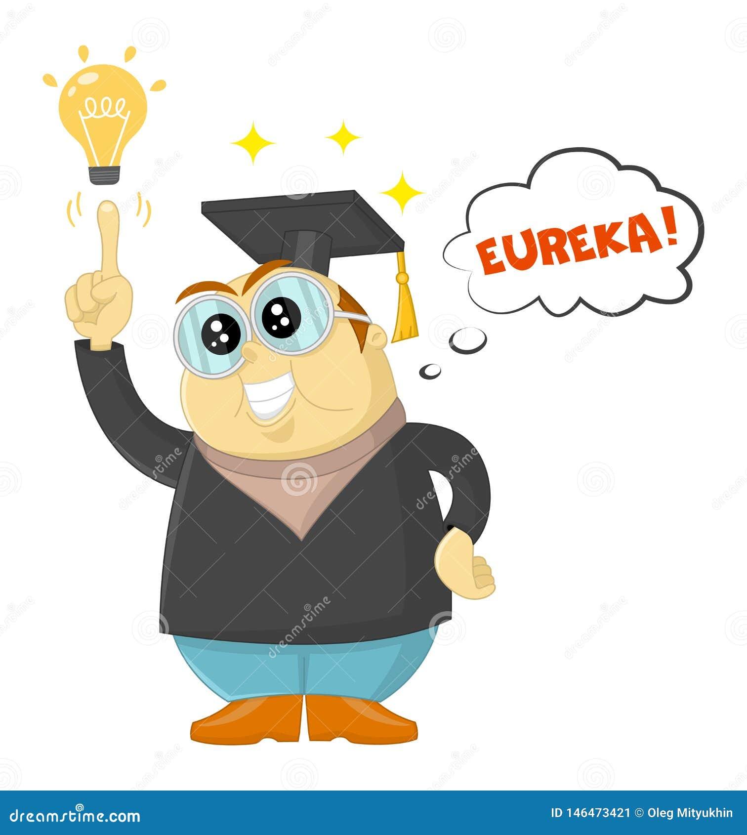 Grappige vectorleraar of wetenschapper die een Eureka-ogenblik hebben Geniestudent, universitair onderwijs en toekomstige aspirat