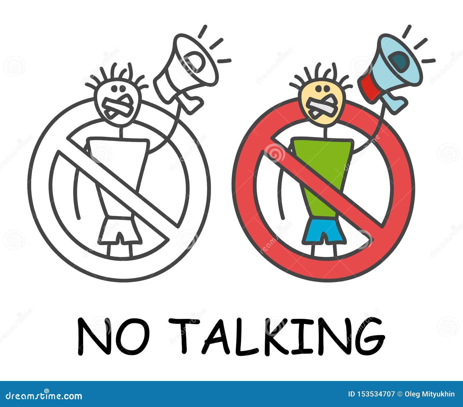 Grappige vectorstokmens met zijn die mond met een megafoon in de stijl van kinderen wordt verzegeld Geen het spreken geen rood ve