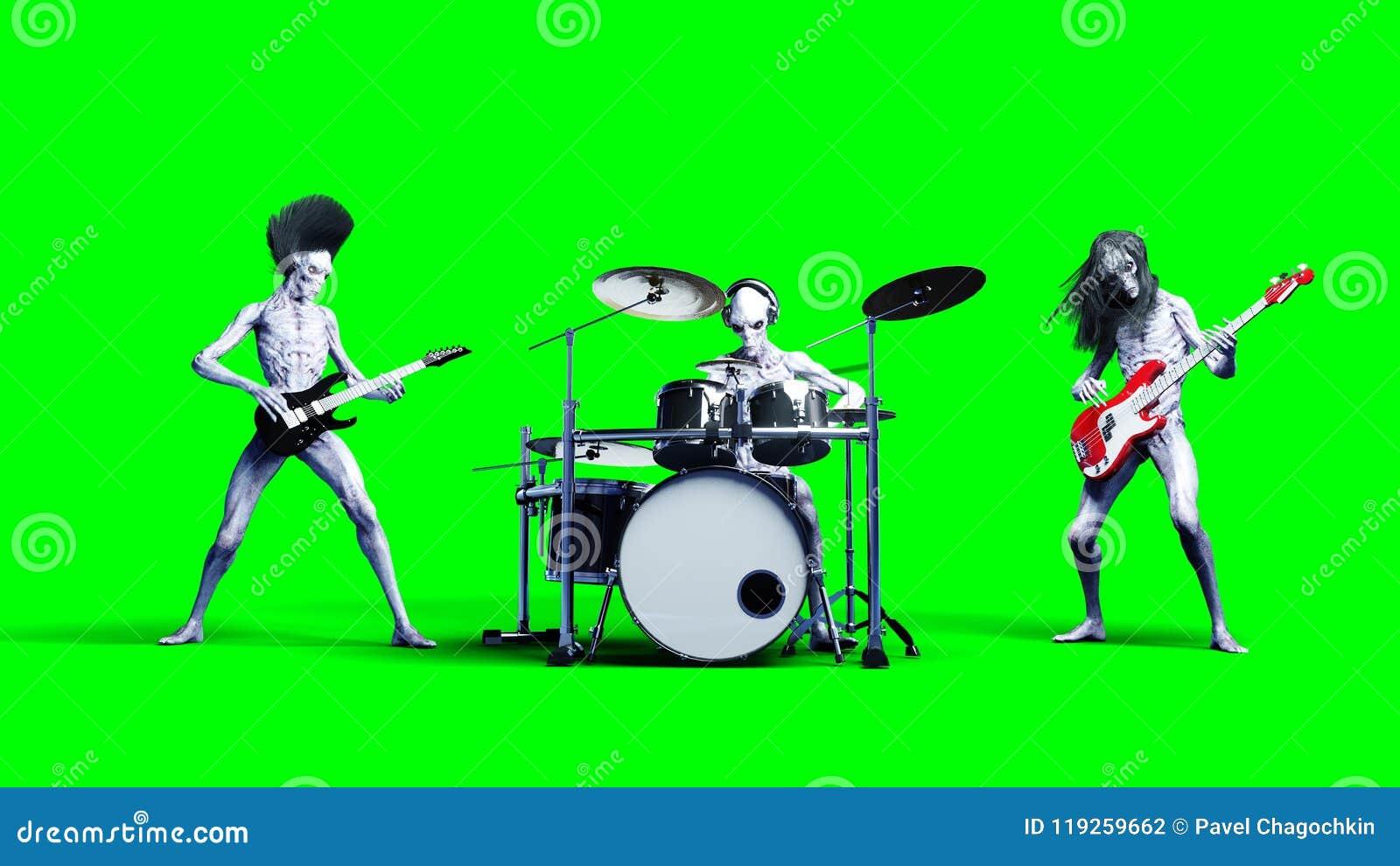 Grappige vreemde popgroep Baarzen, trommel, gitaar Realistische motie en huidshaders het 3d teruggeven