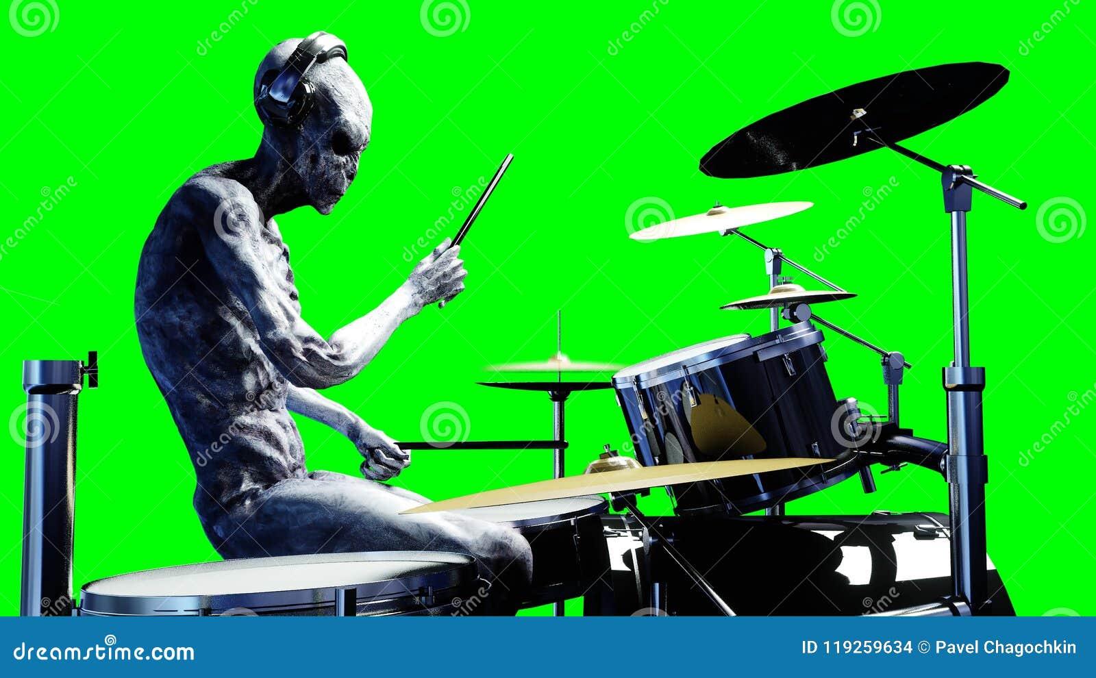 Grappige vreemde spelen op trommels Realistische motie en huidshaders het 3d teruggeven