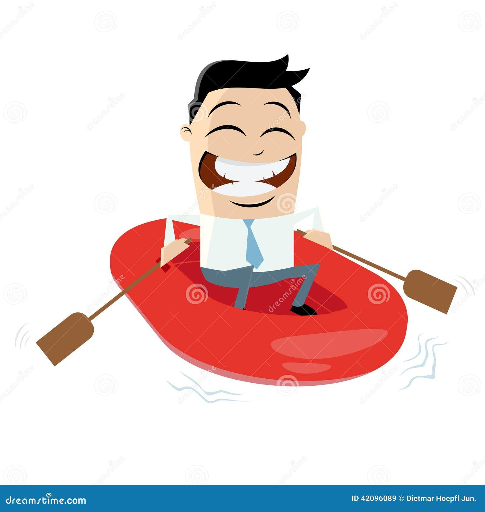 Grappige zakenman met rubberboot