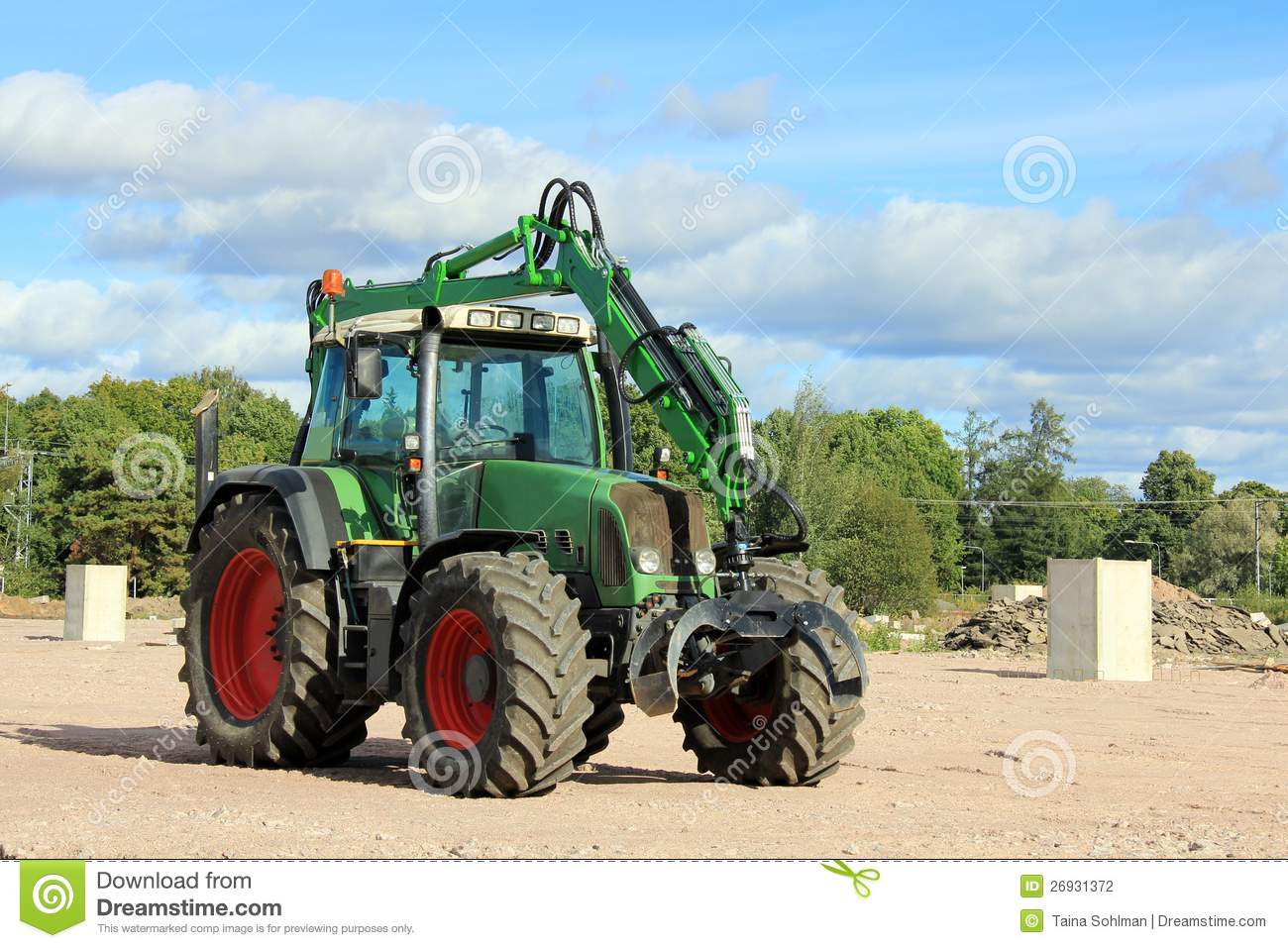 Up The Tractor Green Tractor With Bucket Cartoon : Grapple tractor at construction site stock photography